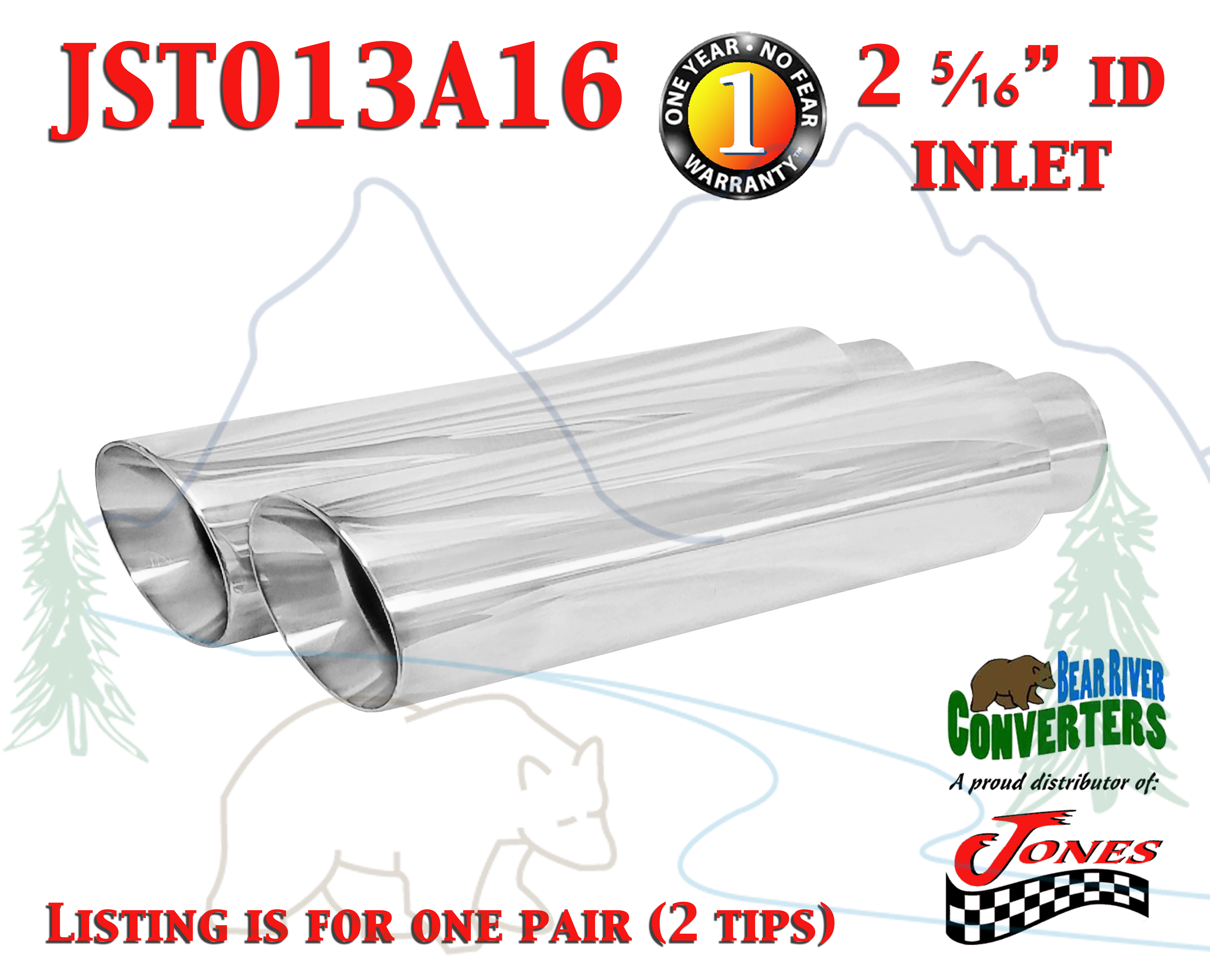 """J4718ACK PAIR Black Stainless Truck Exhaust Tips 2.25/"""" 2 1//4/"""" Inlet 18/"""" Long"""