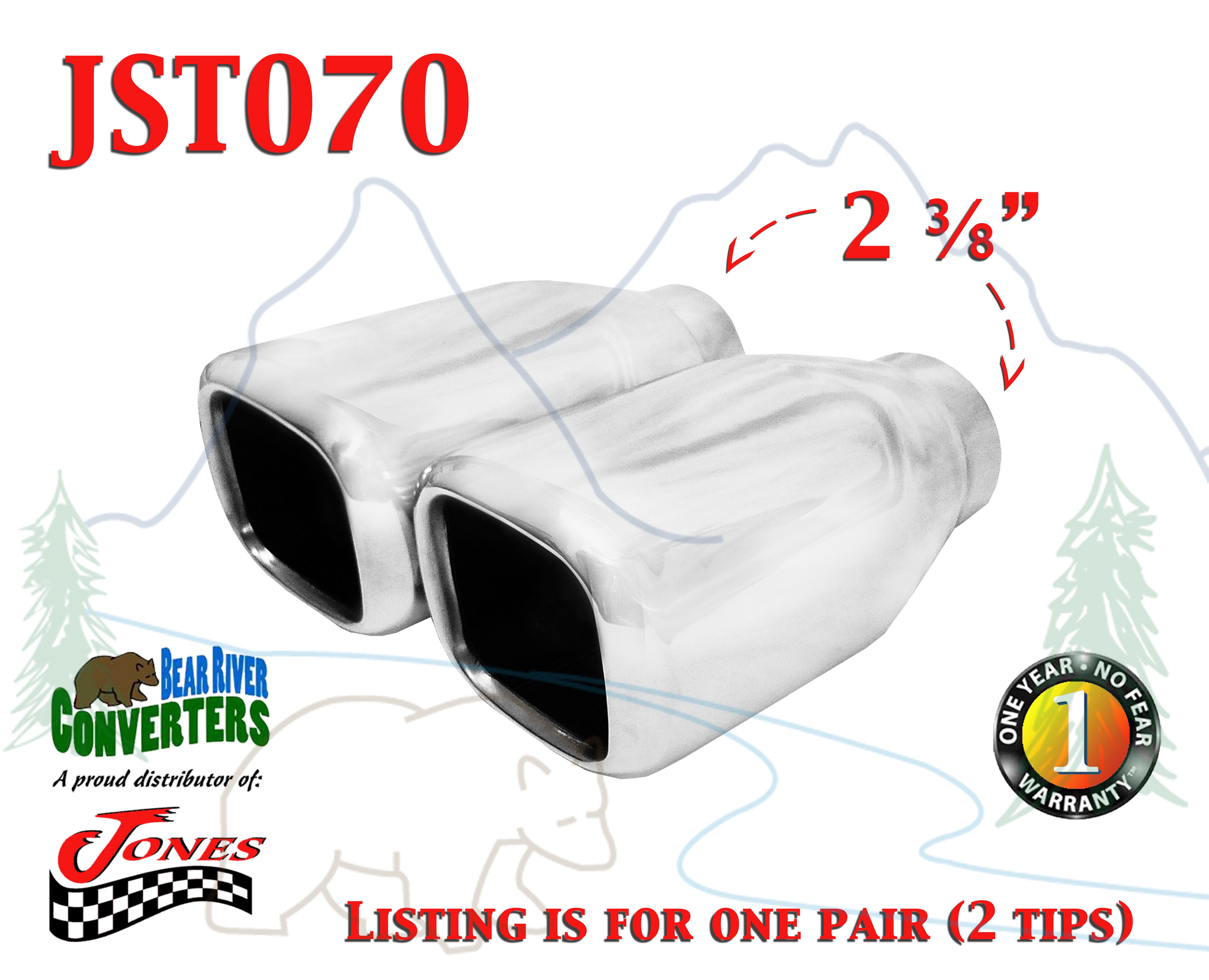 """JST070 2.25/"""" Stainless Square Exhaust Tip 2 1//4/"""" Inlet 4/"""" Outlet 7/"""" Long"""