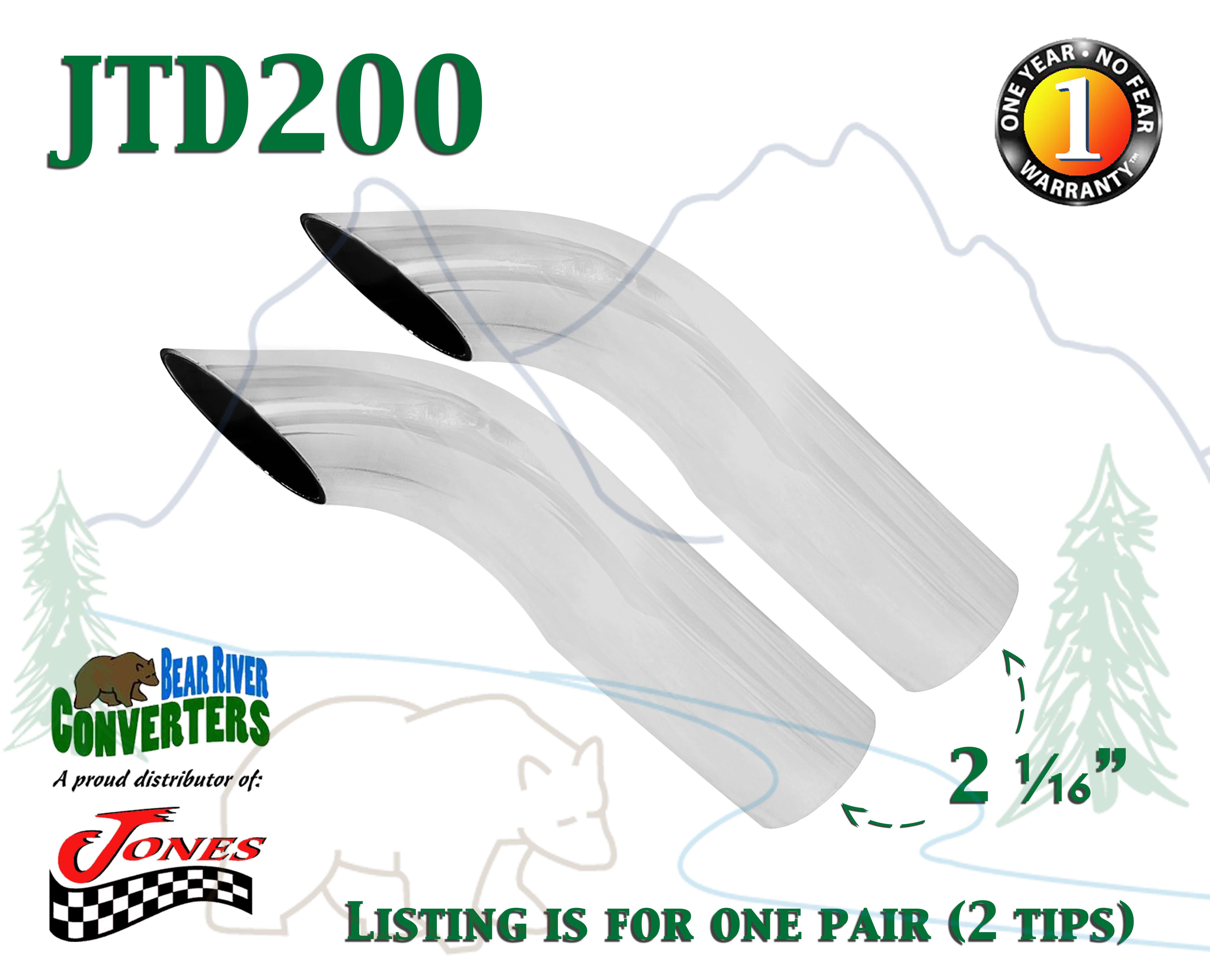 """JAC212 PAIR 2 1//2/"""" 2.5/"""" Chrome Angle Cut Exhaust Tips 2 3//4/"""" Outlet 9/"""" Long"""
