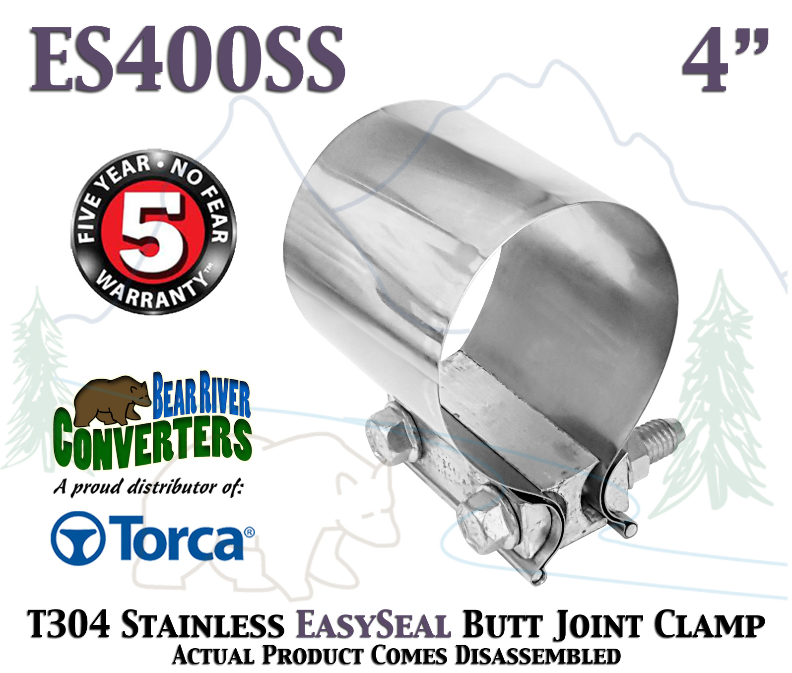 """35976 Torca Easy-seal 4/"""" Stainless Steel Exhaust Clamp 304SS"""