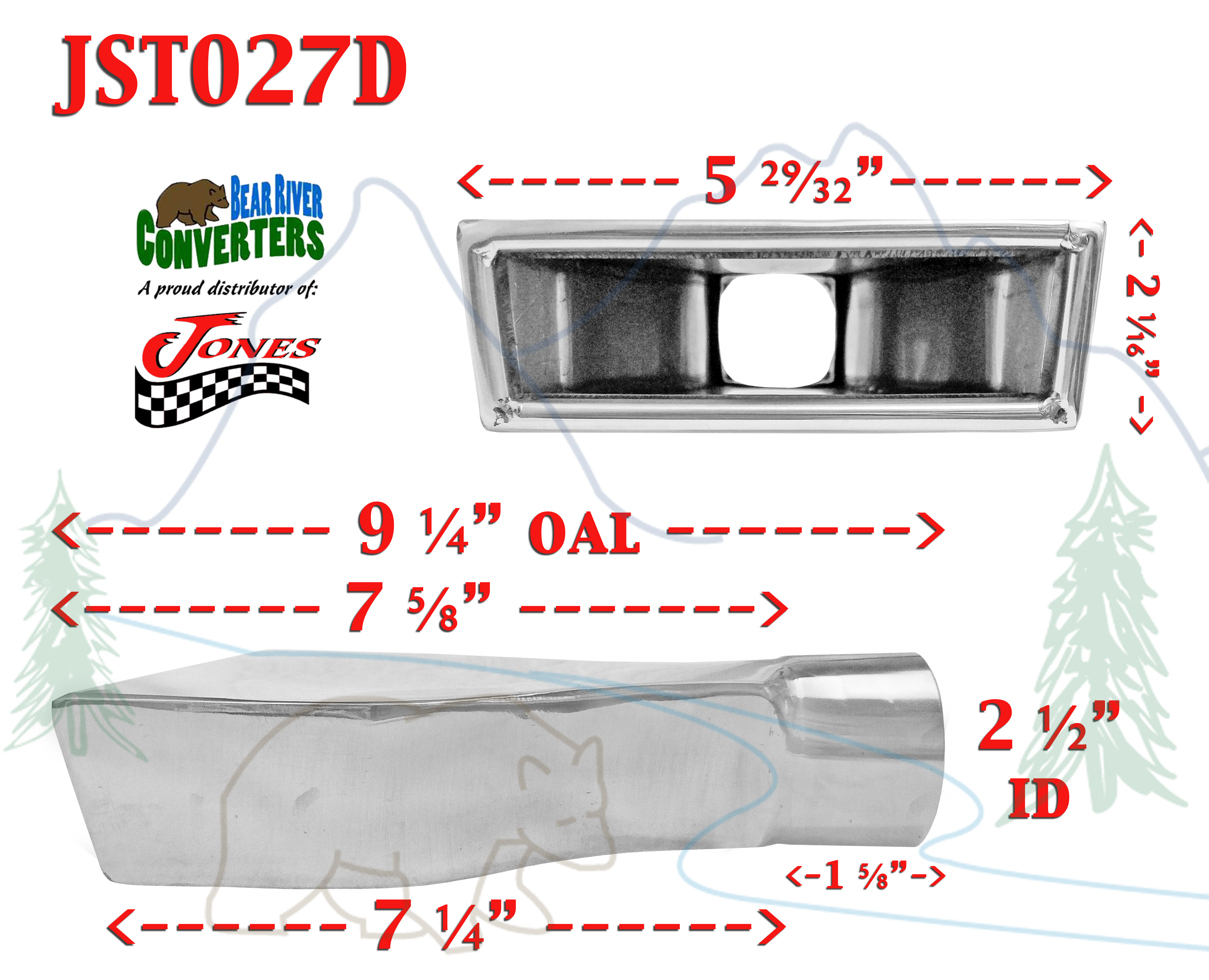 """2.5/"""" Stainless Rectangle Exhaust Tip 2 1//2/"""" Inlet 2 x 6/"""" OD 10/"""" Long Weld On"""