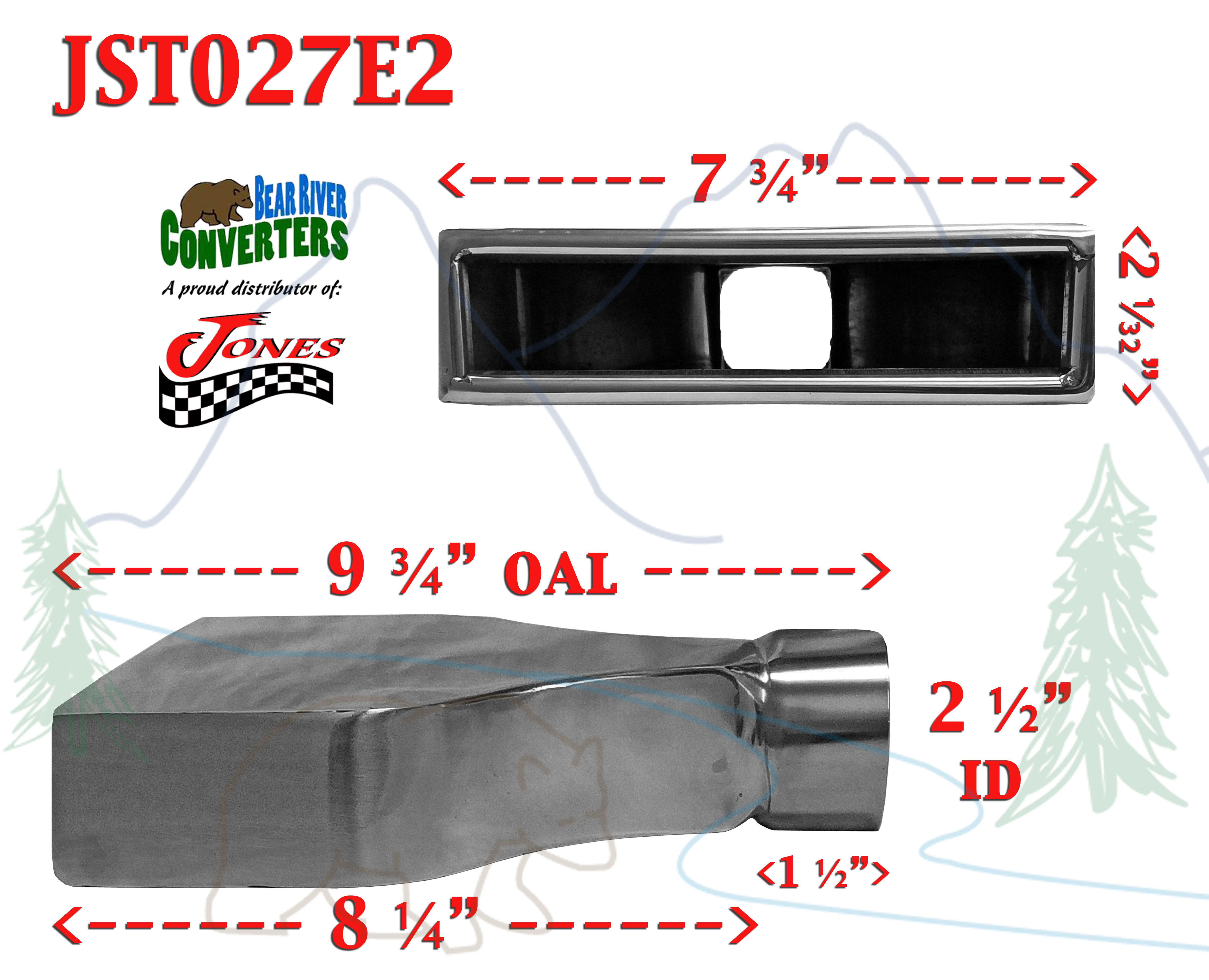 "10/"" Long JST027E2 PAIR 2.5/"" Black Chrome Rectangle Exhaust Tips 2 1//2/"" Inlet"