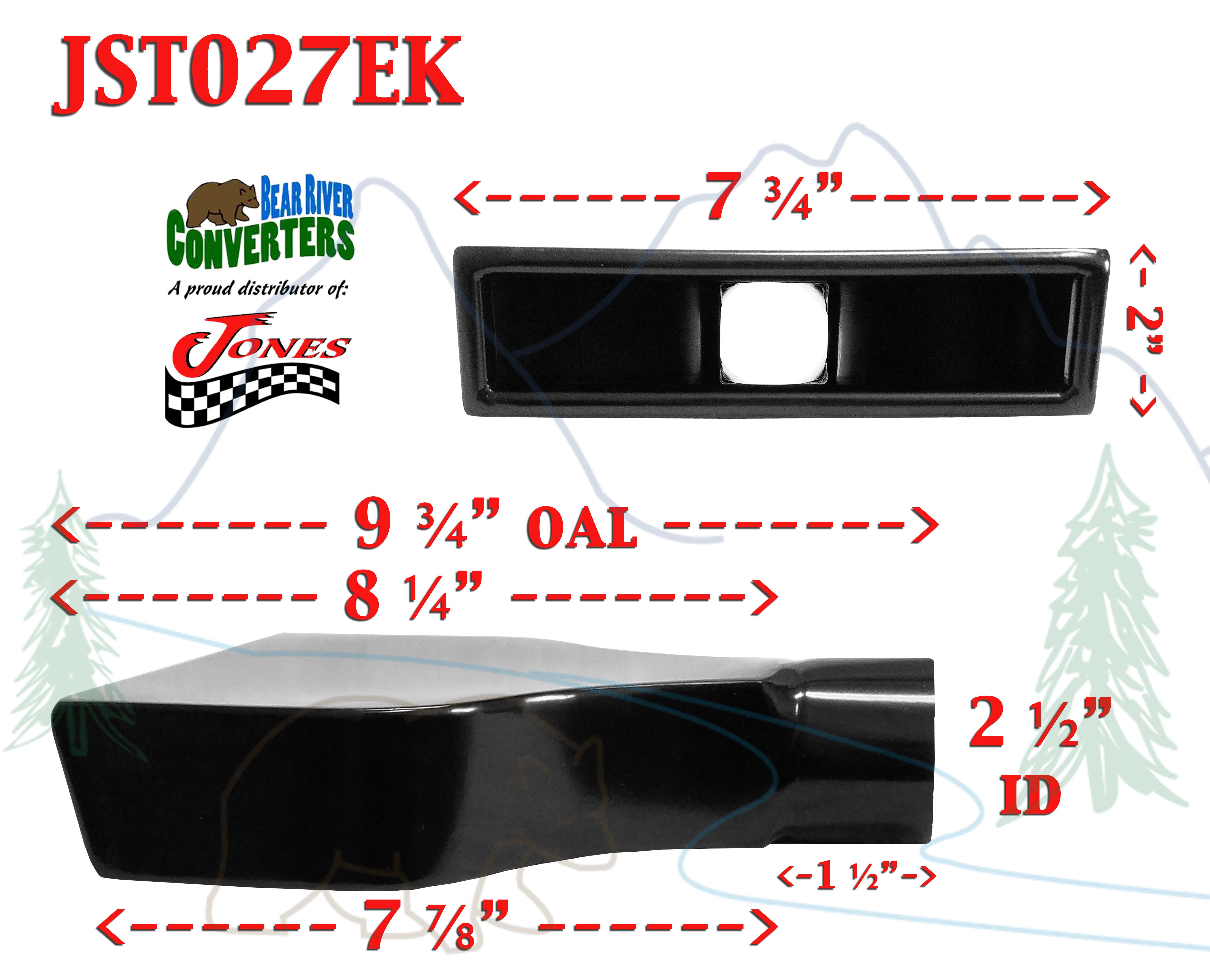 "JST027D2 2.5/"" Black Rectangle Camaro Exhaust Tip 2 1//2/"" Inlet 6/"" Wide 9/"" Long"