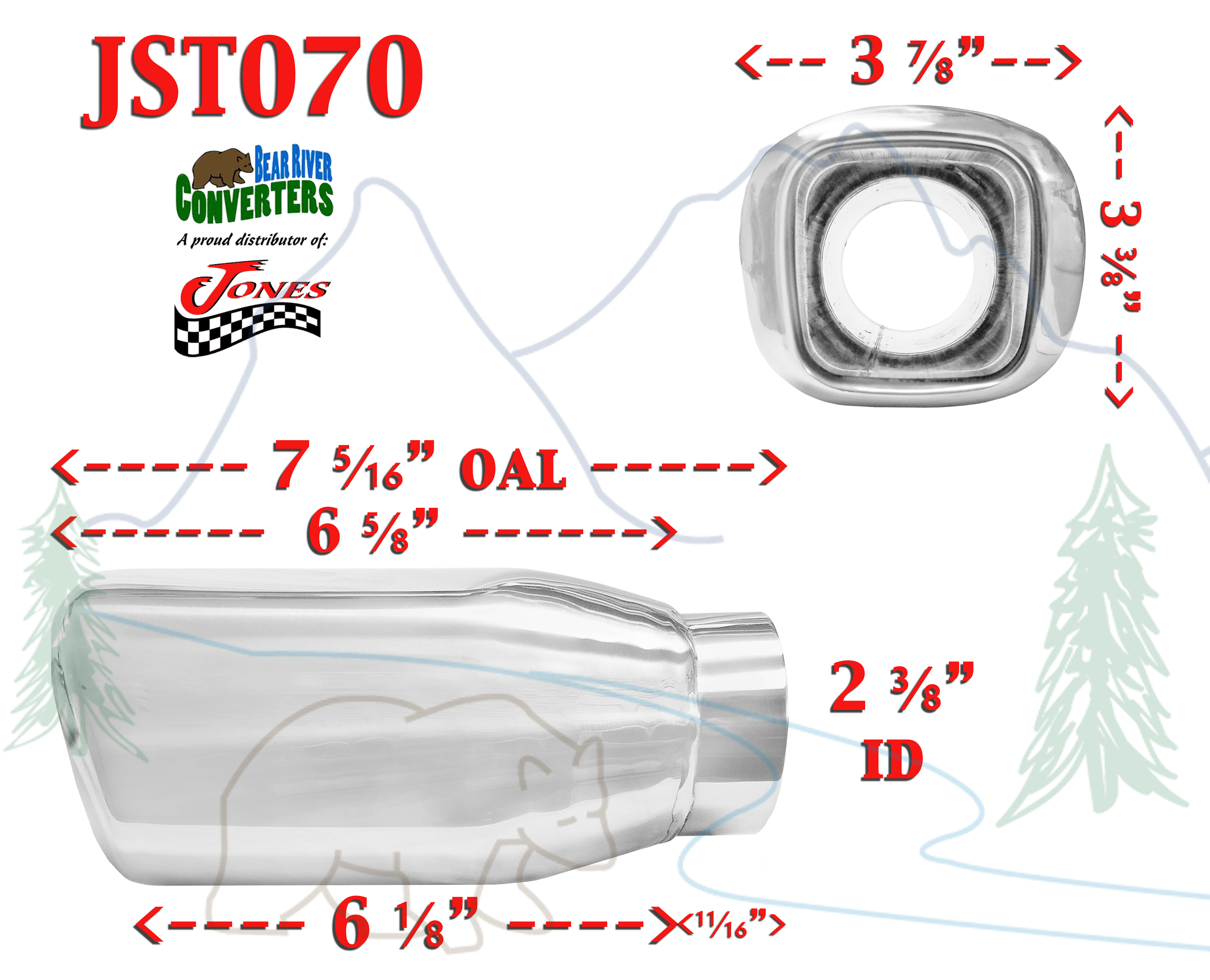 """JST070 PAIR 2.25/"""" Stainless Square Exhaust Tips 2 1//4/"""" Inlet  4/"""" Outlet  7/"""" Long"""