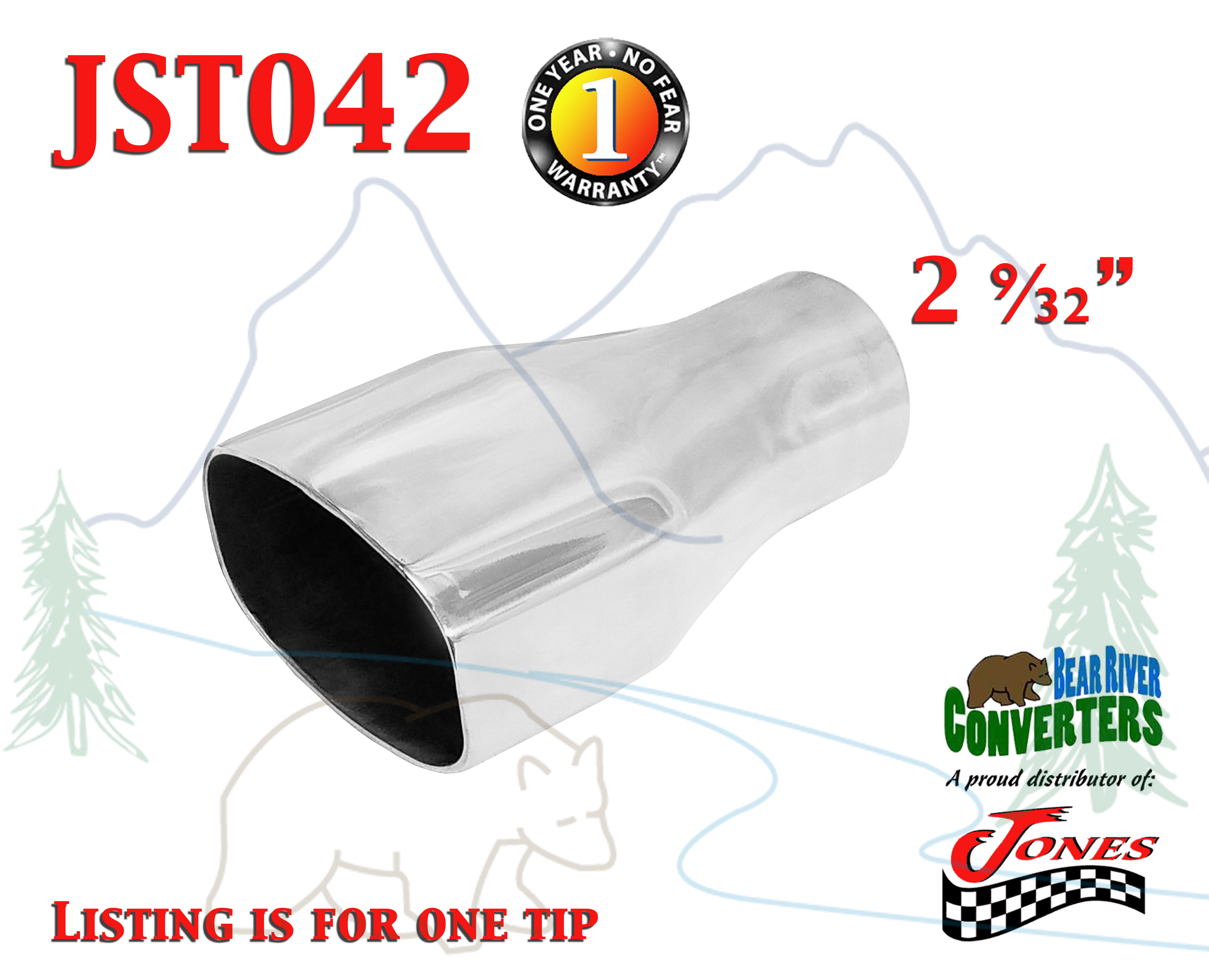 """JST013A 2.25/"""" Stainless Round Truck Exhaust Tip 2 1//4/"""" Inlet 3/"""" Outlet 8/"""" Long"""