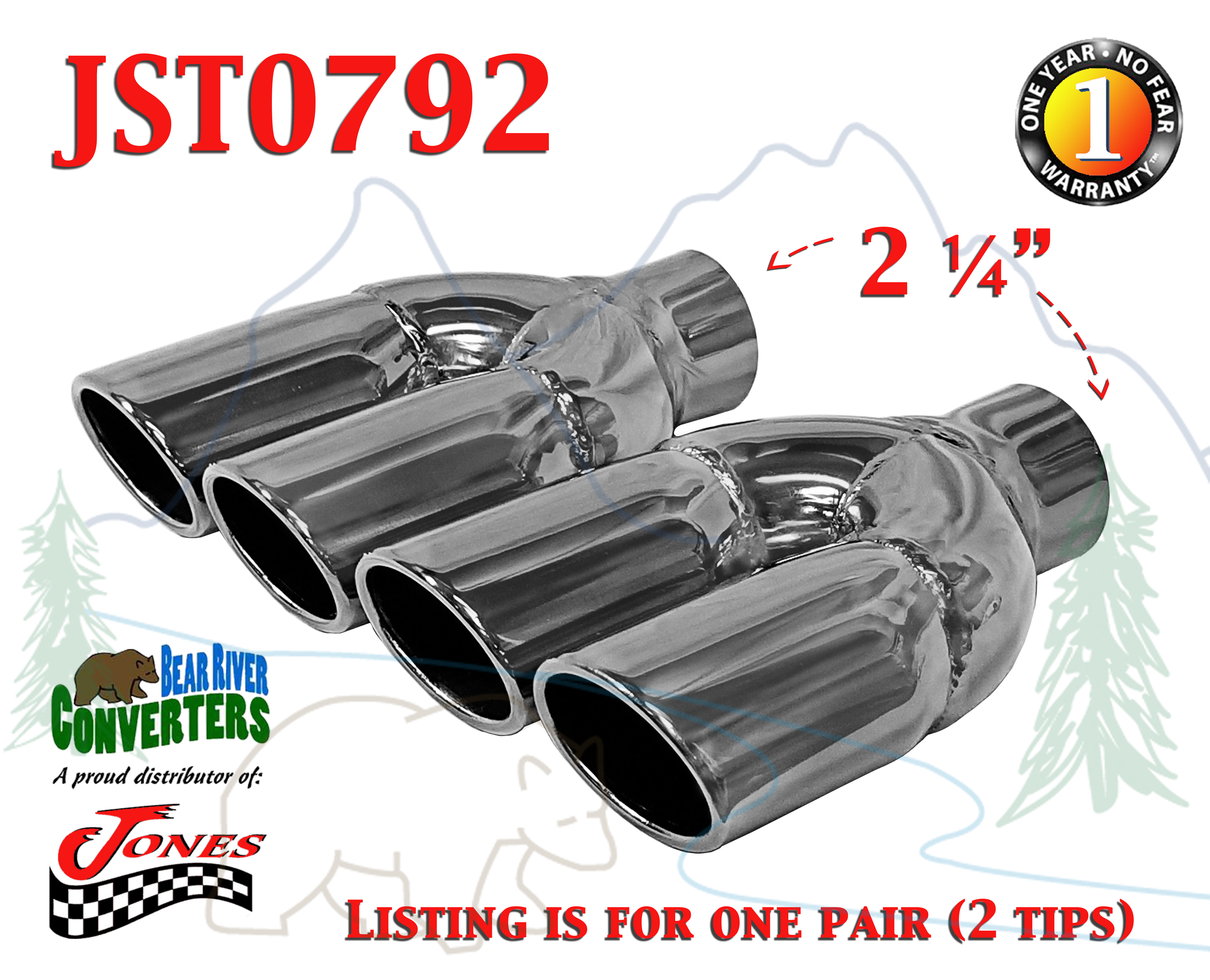 Jones Exhaust JST084 Chrome Stainless Steel Dual Oval Slant Exhaust Tip