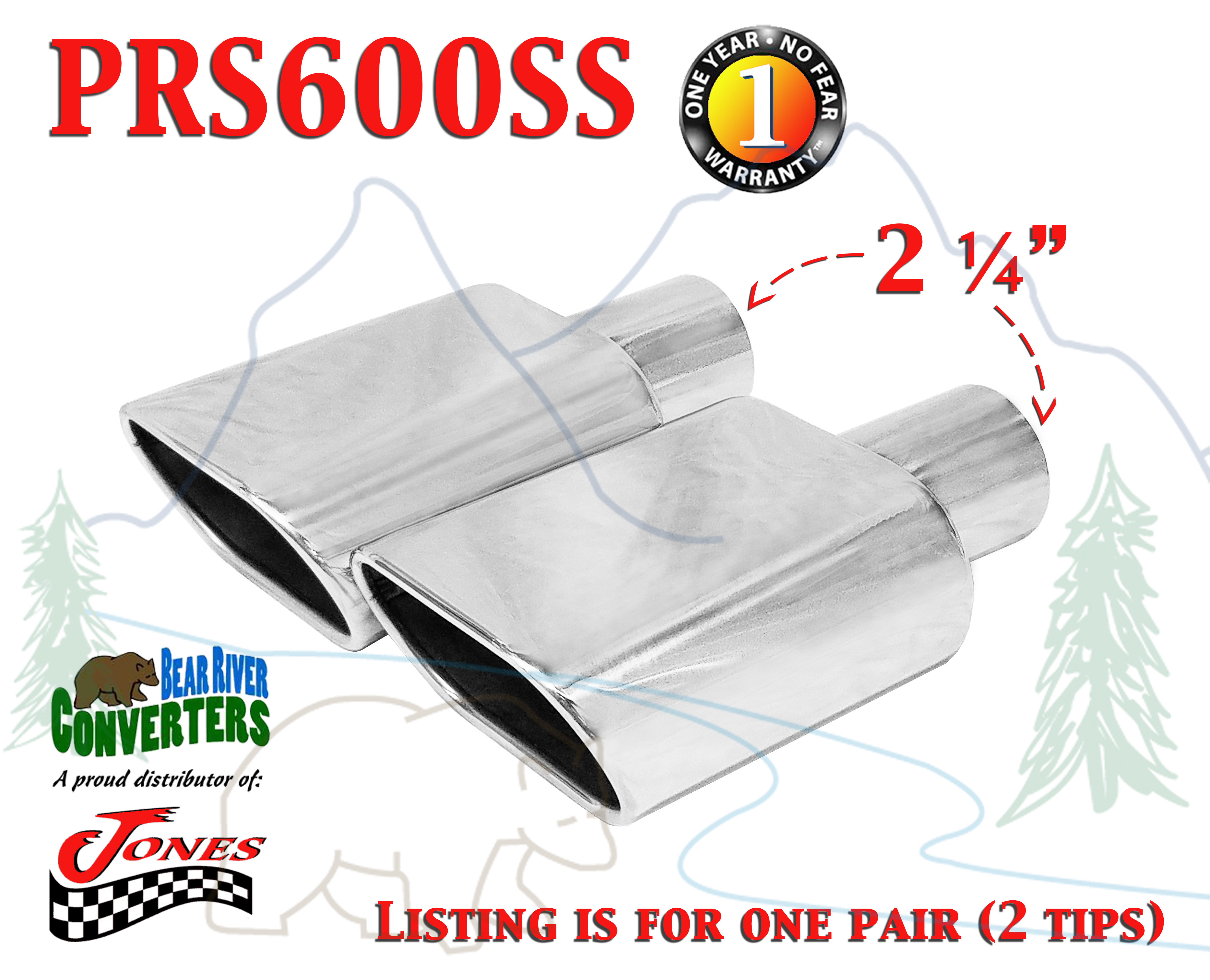 """JST081 2.25/"""" Stainless Oval Exhaust Tip 2 1//4/"""" Inlet 6/"""" Long 6/"""" Outlet"""