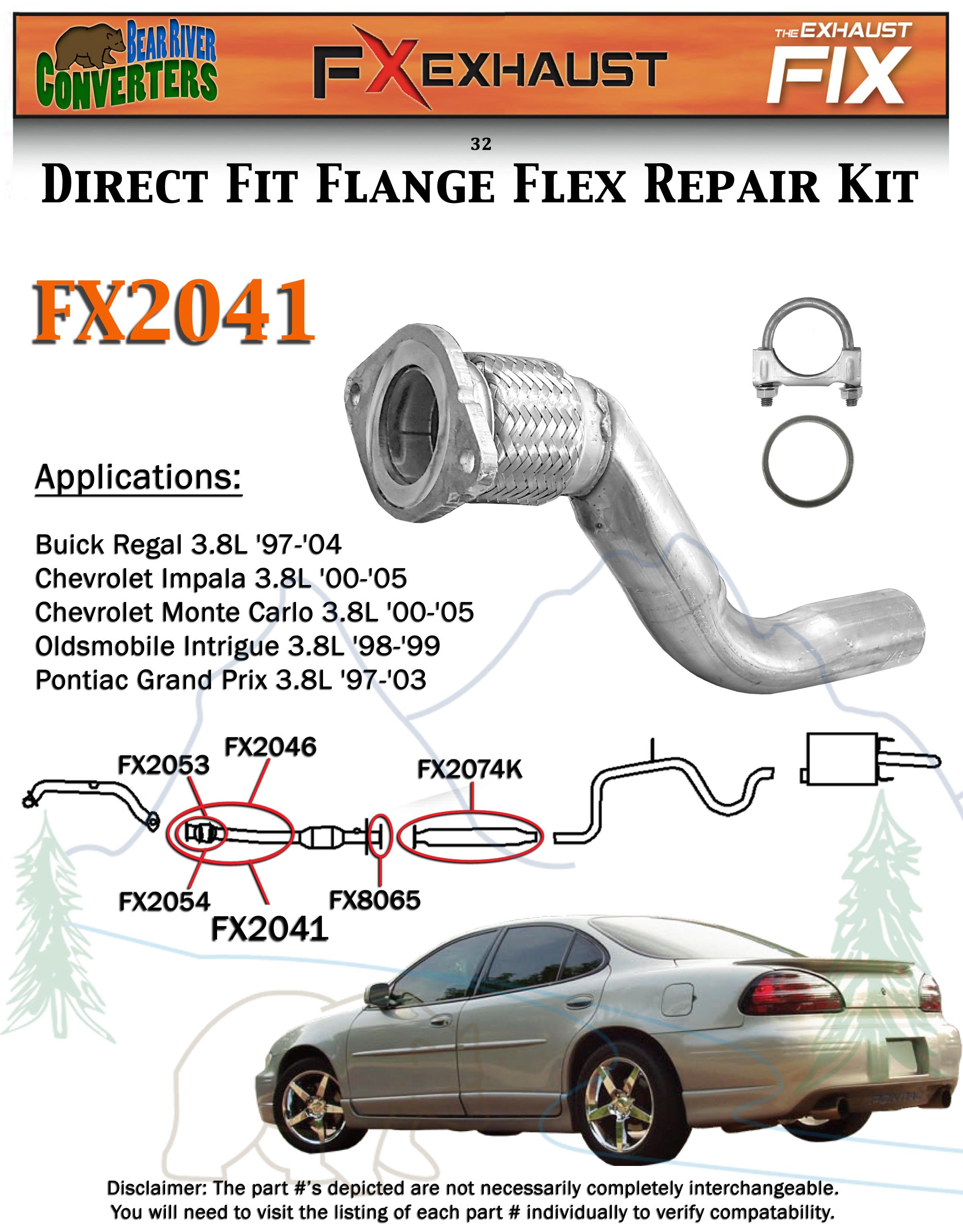 FX2041 Semi Direct Fit Exhaust Flange Repair Flex Pipe Converter