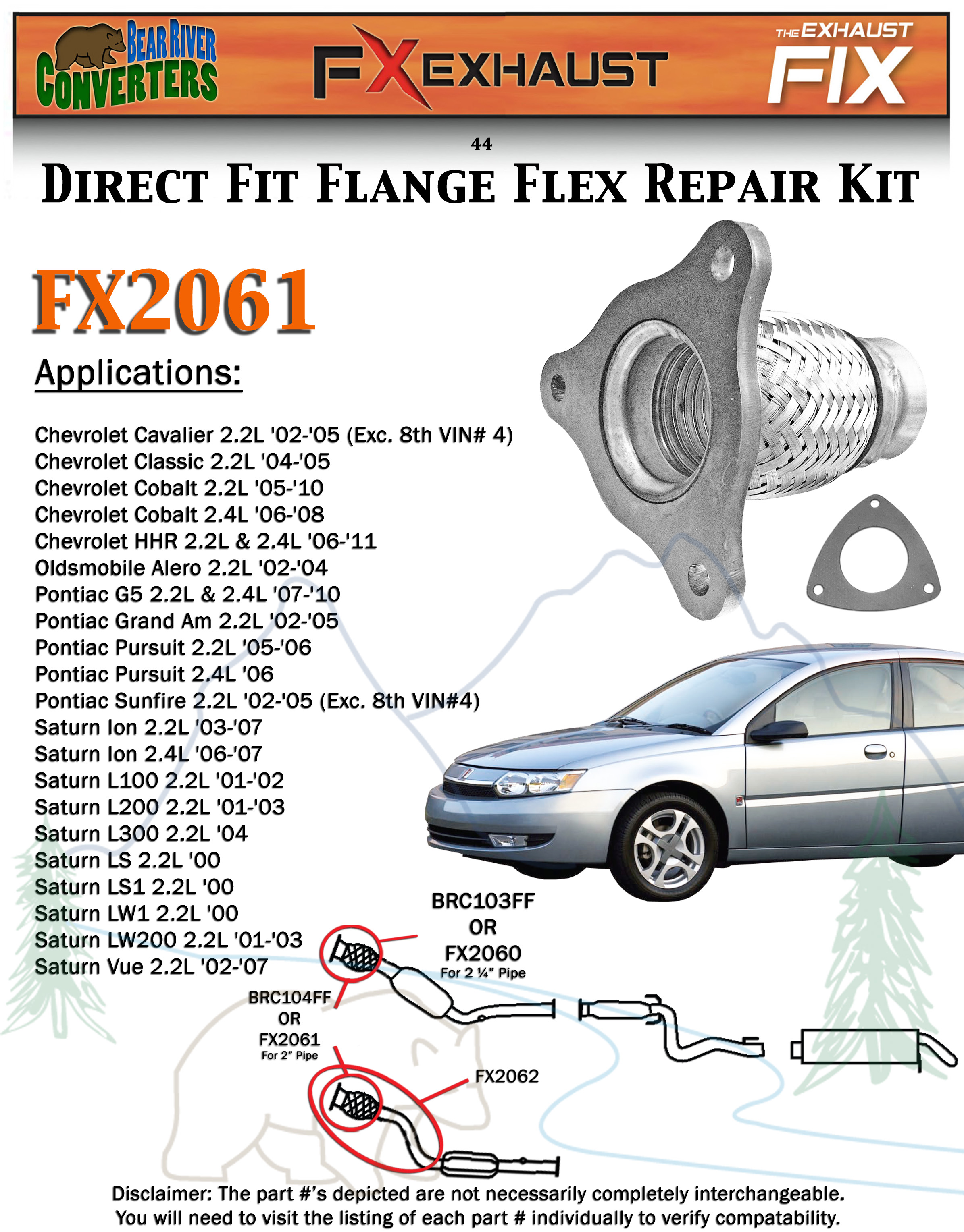 FX2061 Semi Direct Fit Exhaust Flange Repair Flex Pipe Replacement Kit With  Gasket