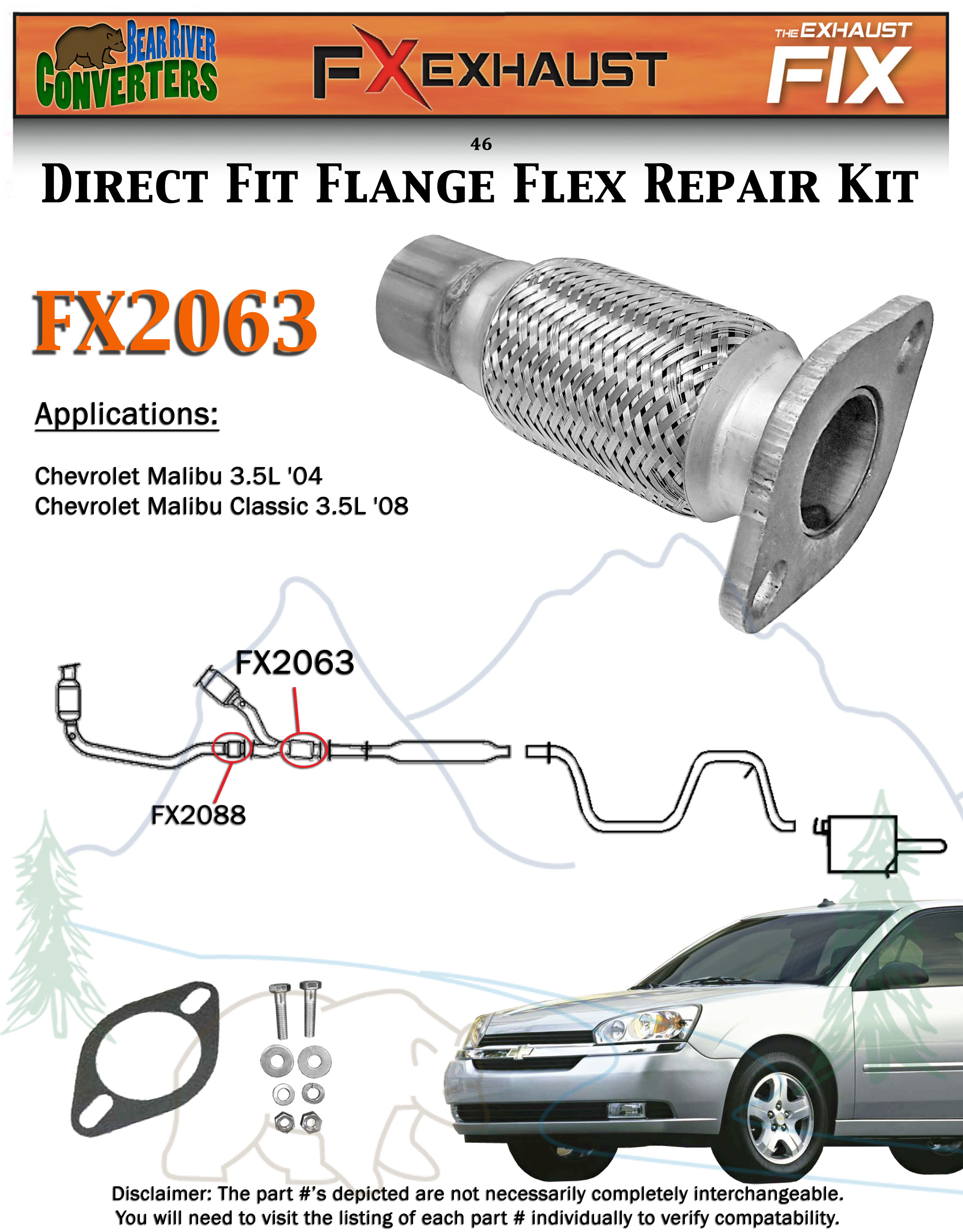 FX2063 Semi Direct Fit Exhaust Flange Repair Flex Pipe Replacement