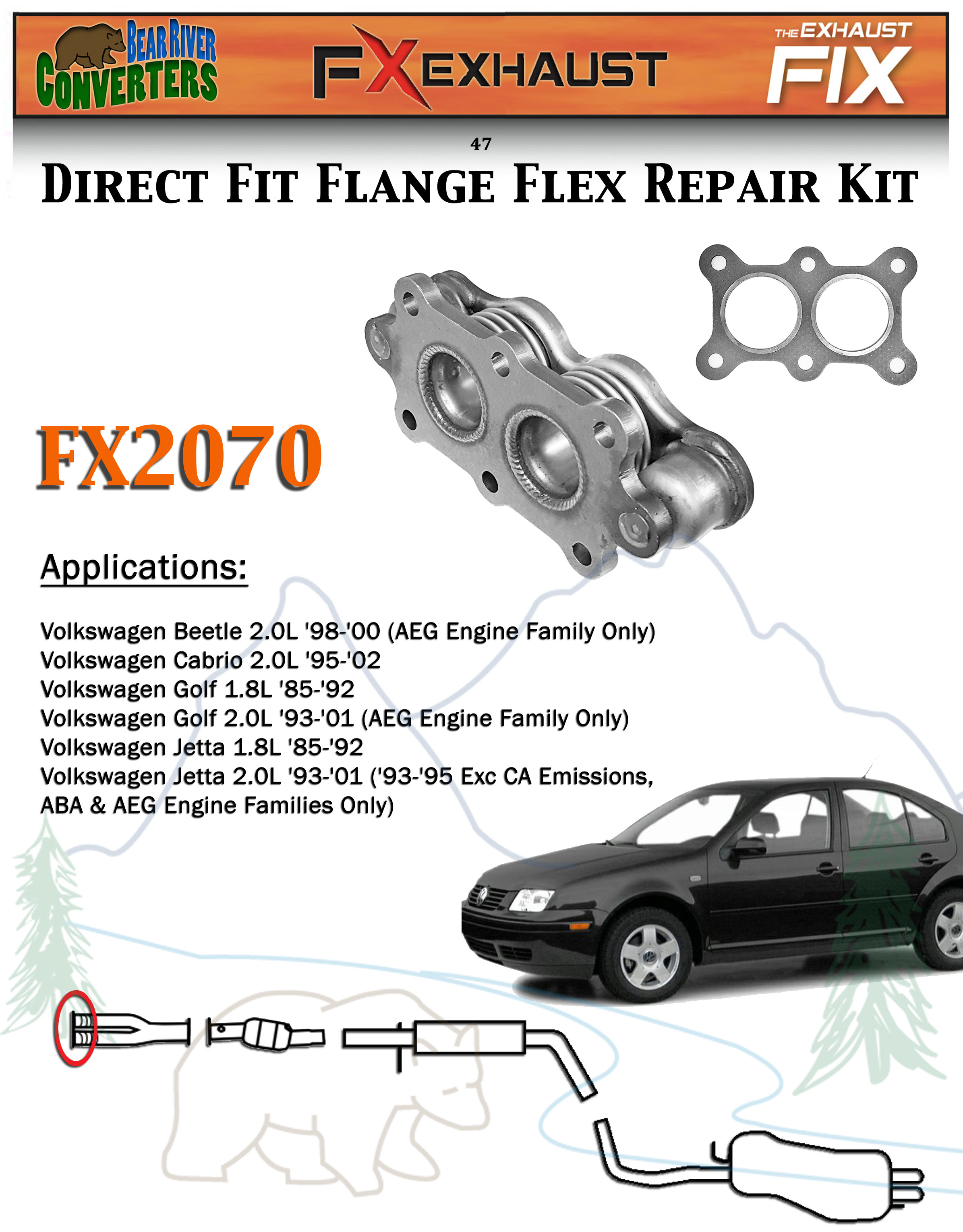 Volkswagen Cabrio Exhaust Parts 2002 Jetta 1 8l Engine Diagram Fx Direct Fit Flange Flex Repair Pipe Replacement Kit 2391x3058