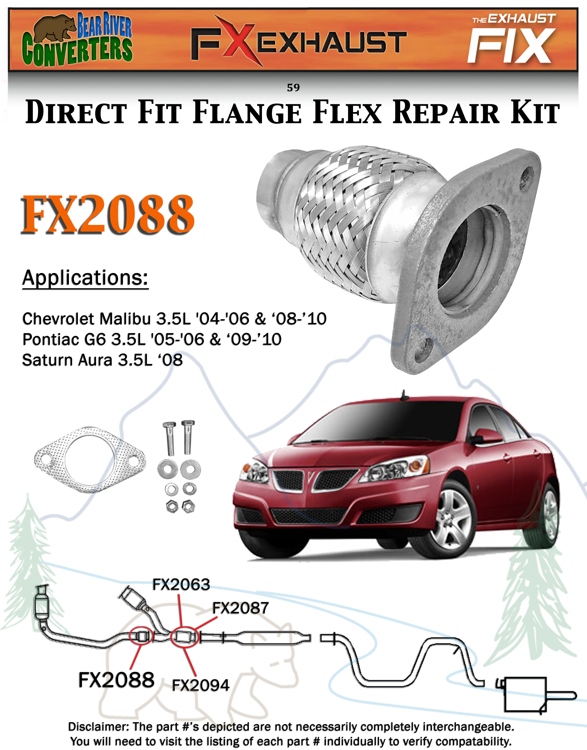 FX2088 Semi Direct Fit Exhaust Flange Repair Flex Pipe Replacement