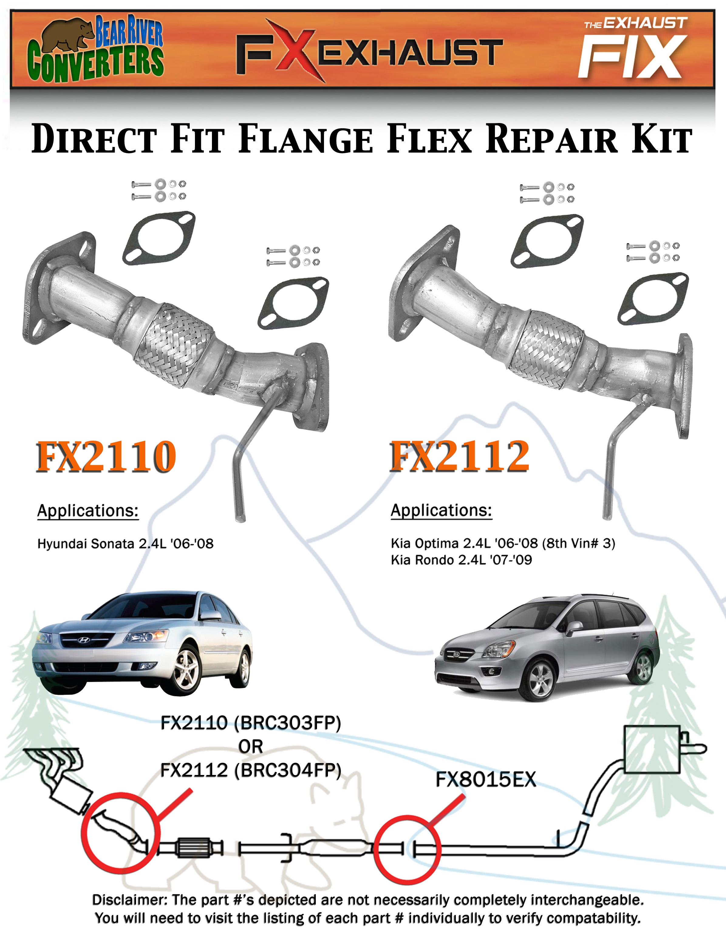 FX2110 Direct Fit Exhaust Flange Flex Front Pipe Repair