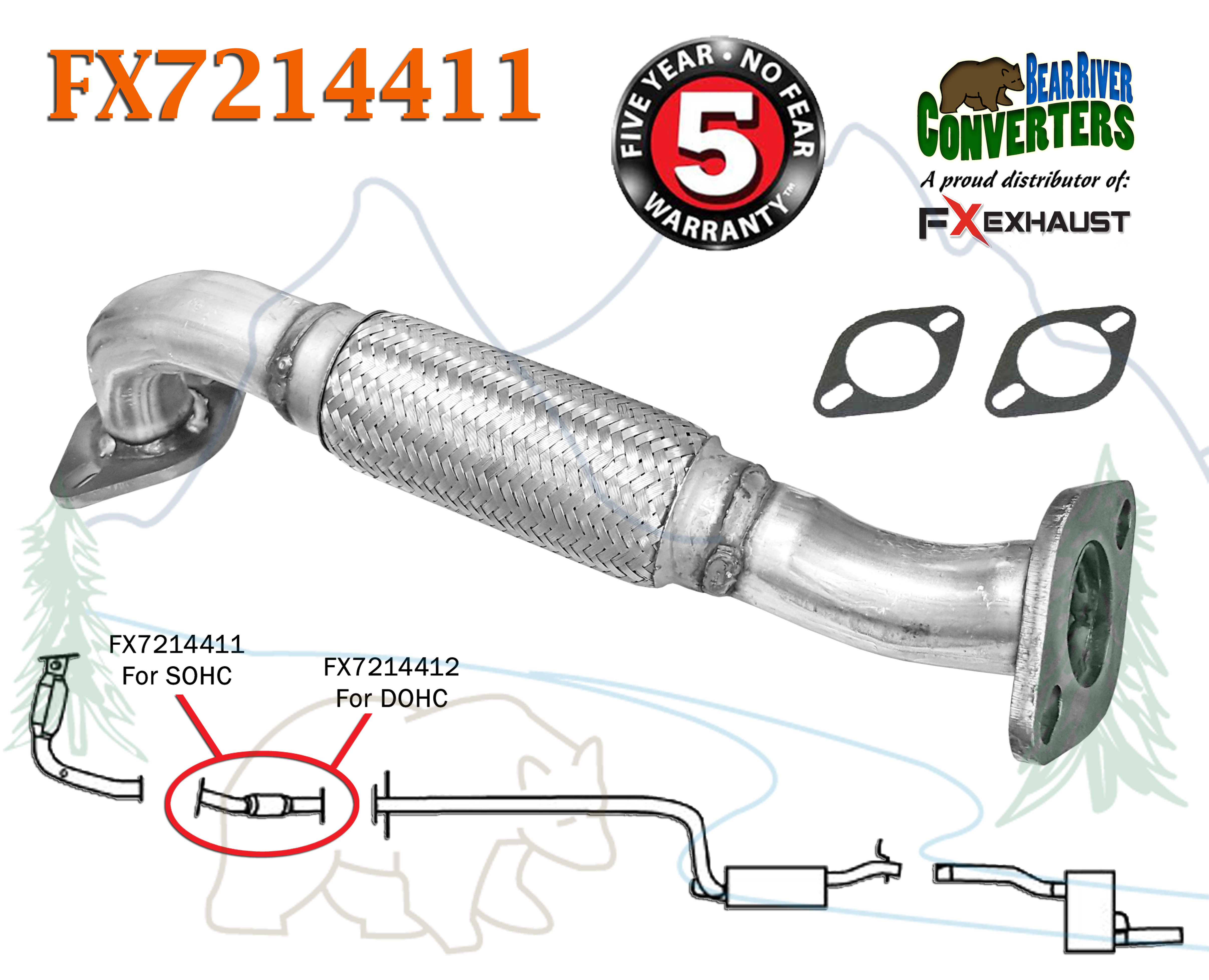 DIRECT FIT FRONT FLEX PIPE FOR 2000 2001 2002 2003 2004 FORD FOCUS 2.0L DOHC