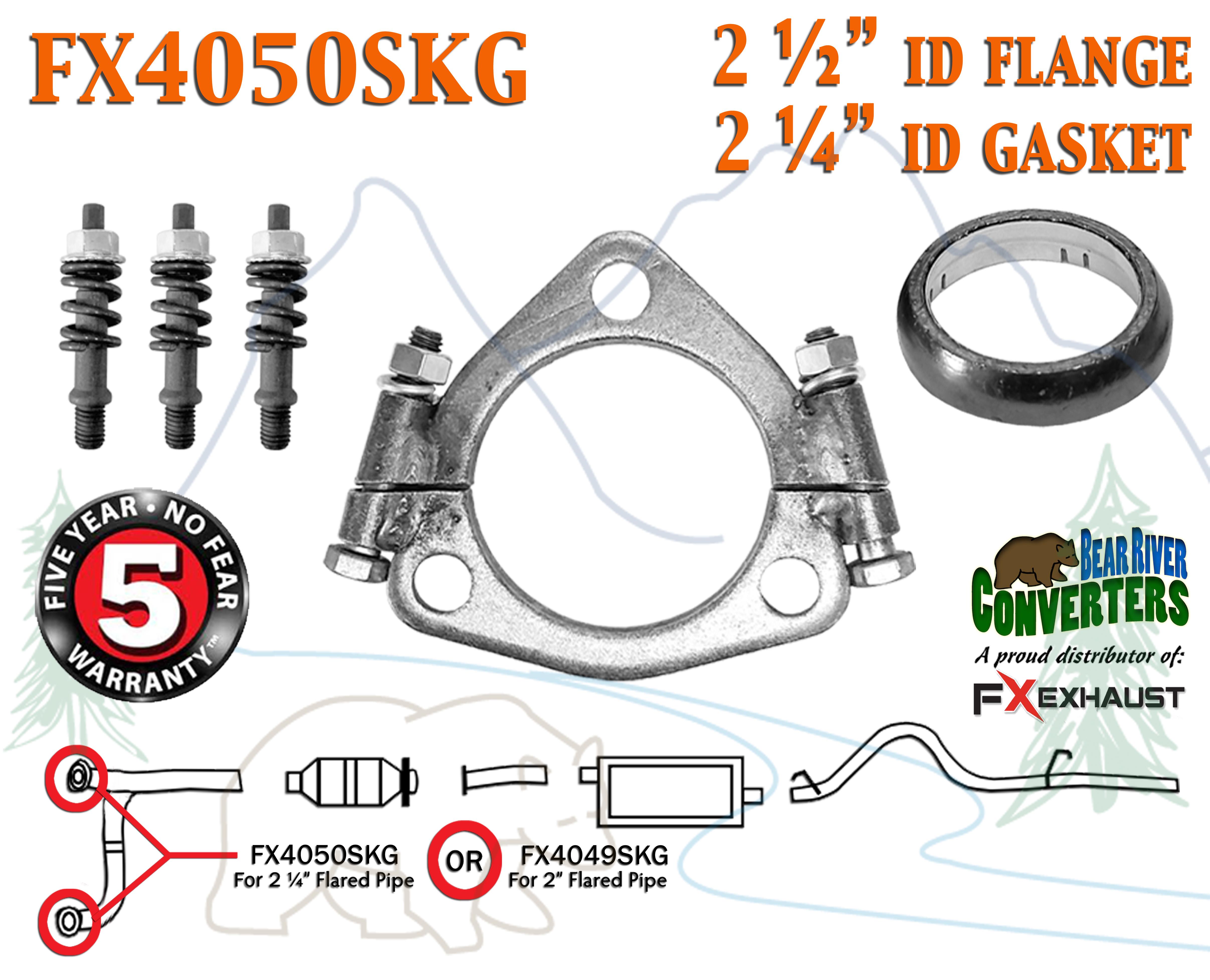 """FX4050SKG 2 1 2"""" Triangle Exhaust Split Flange Kit For 2 1 4"""" OD"""