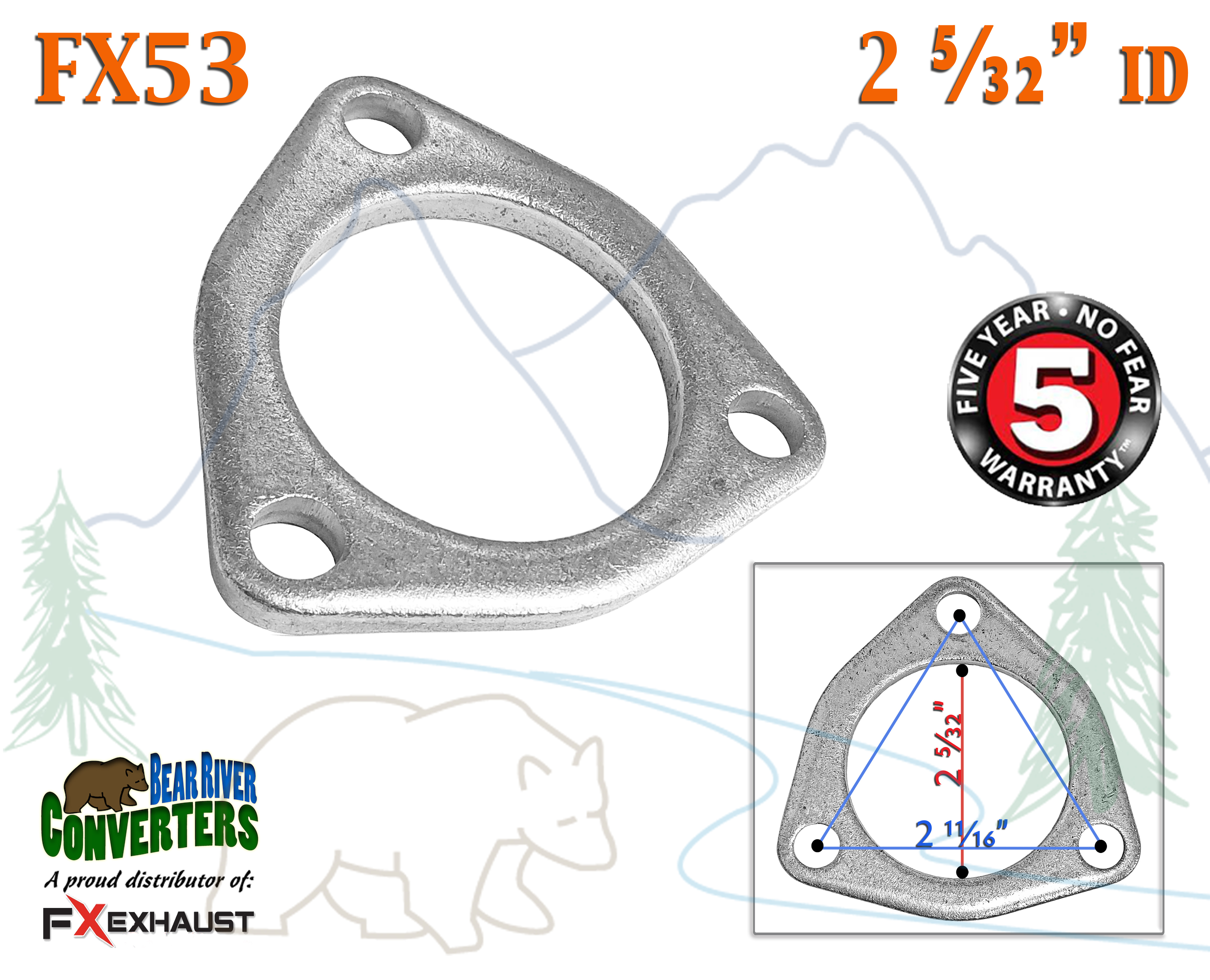 """FX53 2 1//8/"""" ID Flat Triangle Three Bolt Exhaust Flange Fits 2.125/"""" Pipe"""