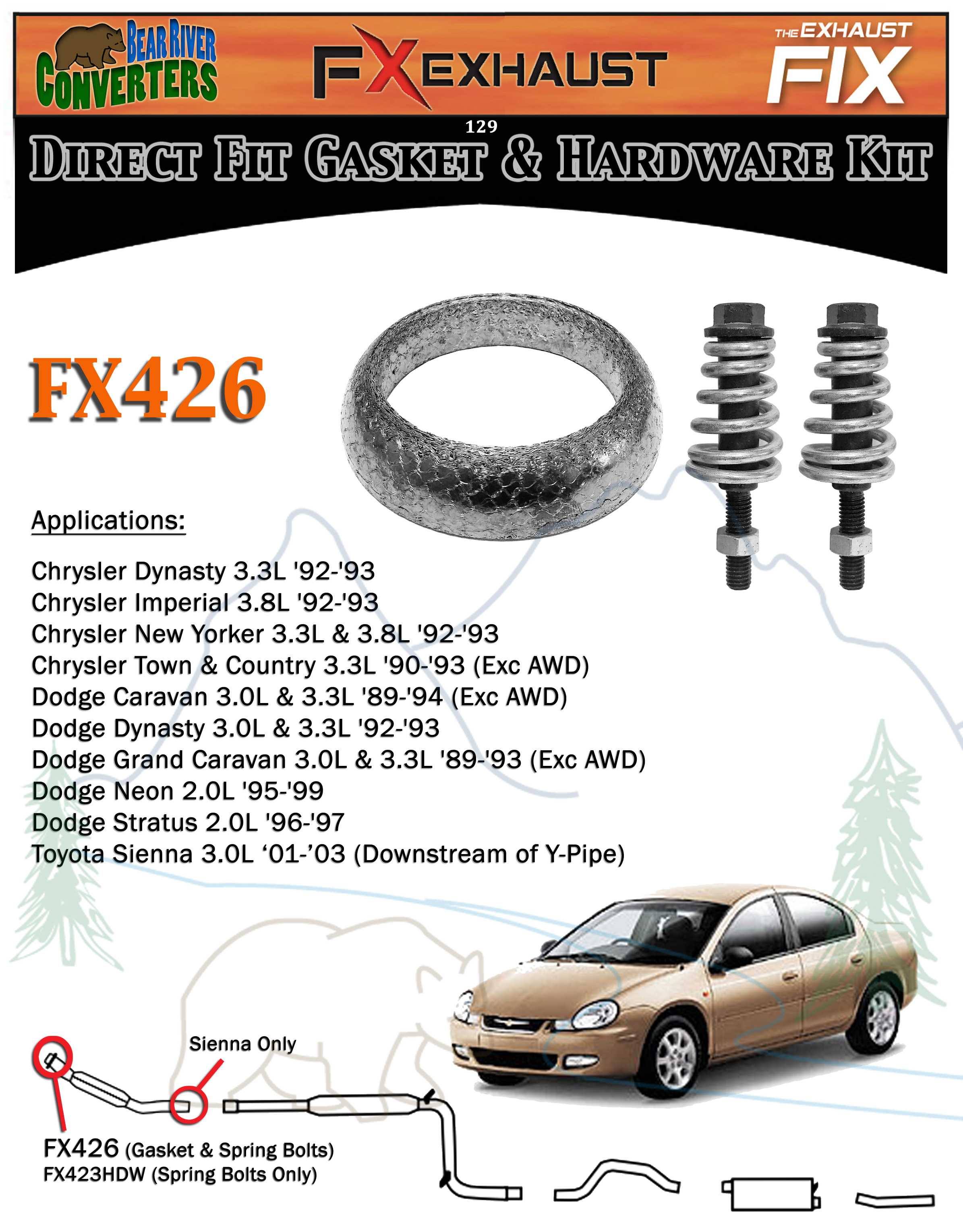 Fx444l Exhaust Spring Bolt Stud Nut Hardware Repair Replacement