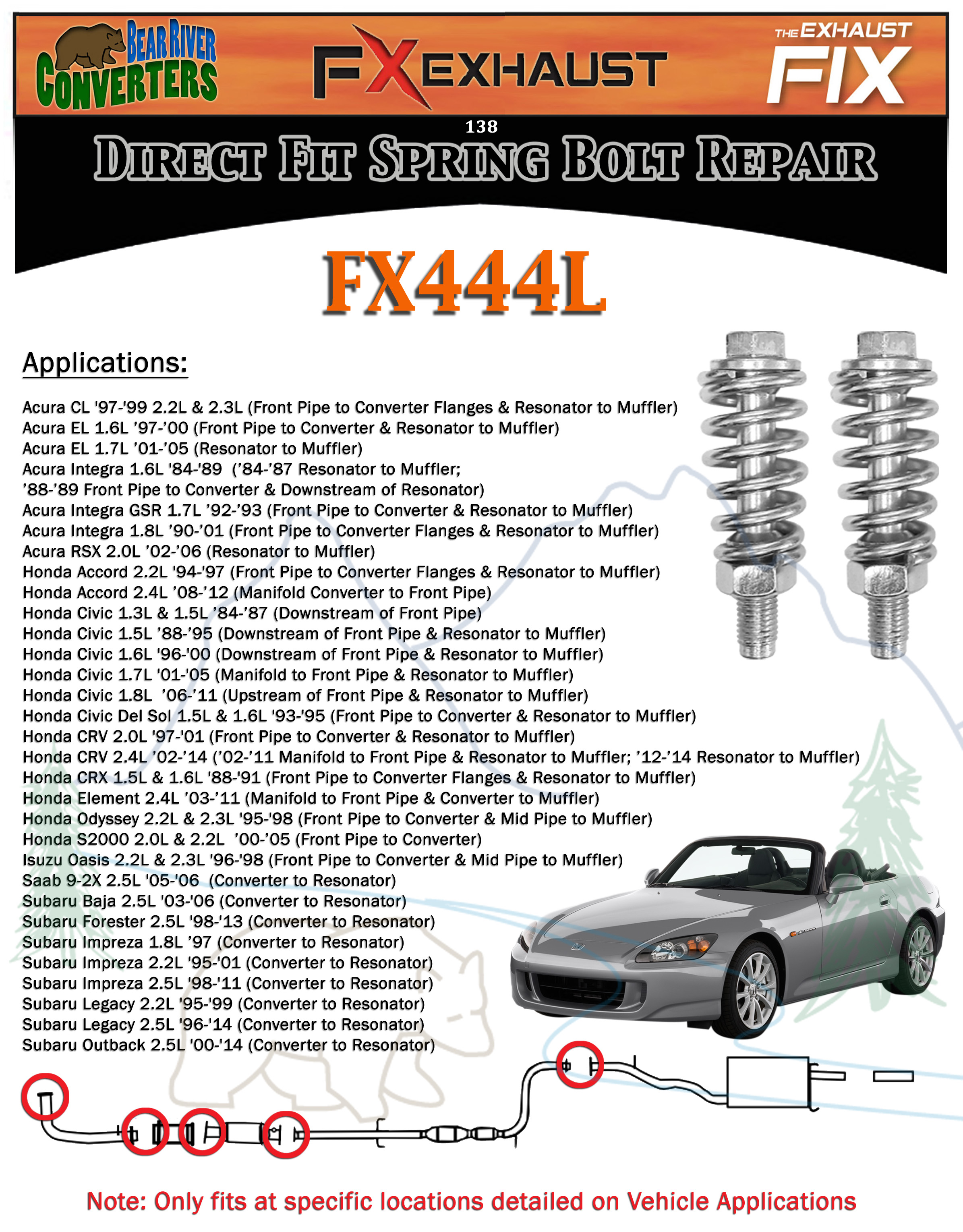 fx444l exhaust spring bolt stud nut hardware repair replacement rh ebay com Acura TL Com Exhaust 2006 Acura TL Single Exhaust Tips