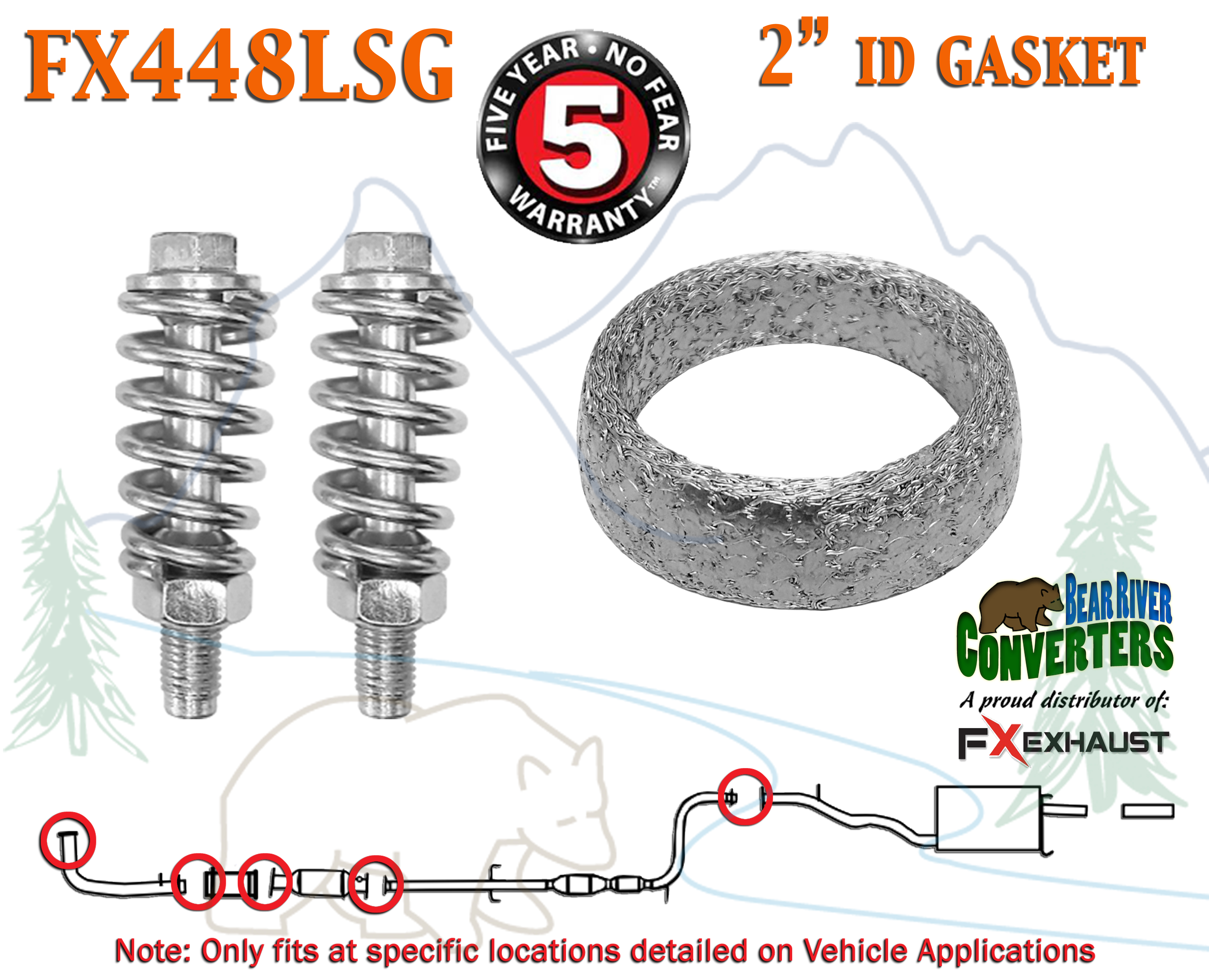 """FX448LSG 2"""" ID Exhaust Donut Gasket & Two Spring Bolts Stud Nut Hardware  Repair Kit"""