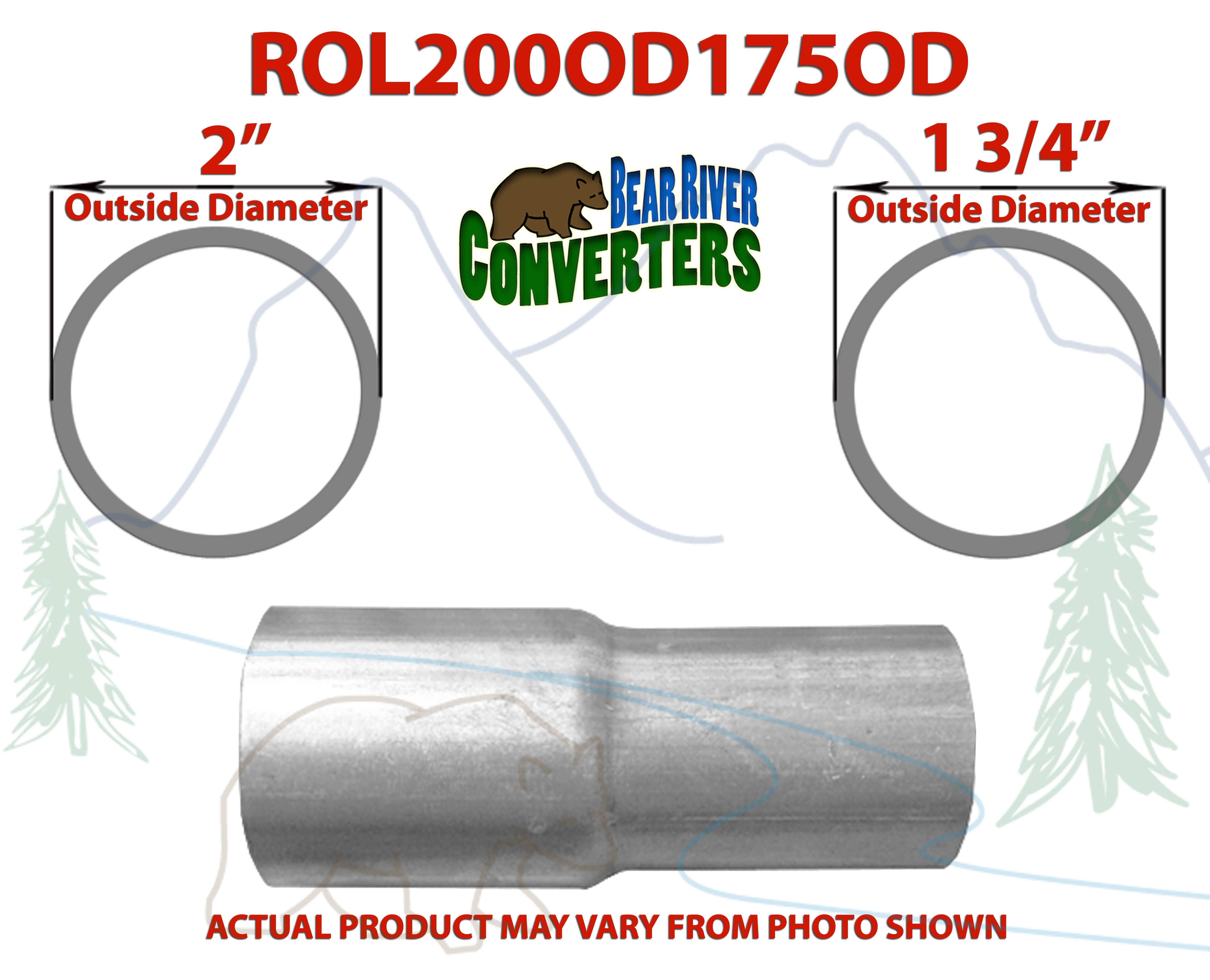 """1 3//4"""" 1.75/"""" ID to 1 3//4"""" 1.75/"""" OD Exhaust Pipe to Component Coupling Connector"""