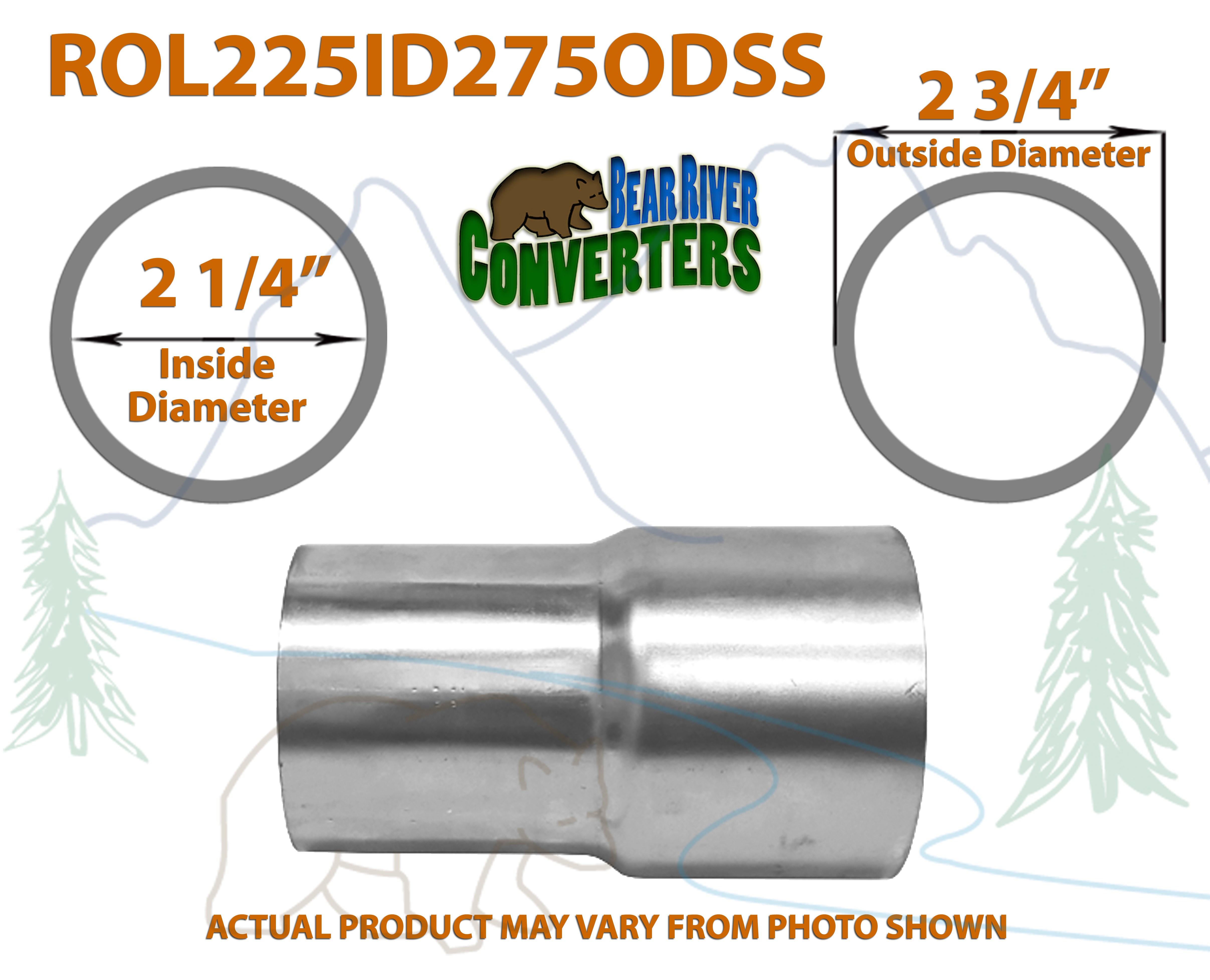 "2 1//4"" 2.25 ID x 2 3//4"" 2.75 OD Stainless Exhaust Pipe Component Adapter Reducer"