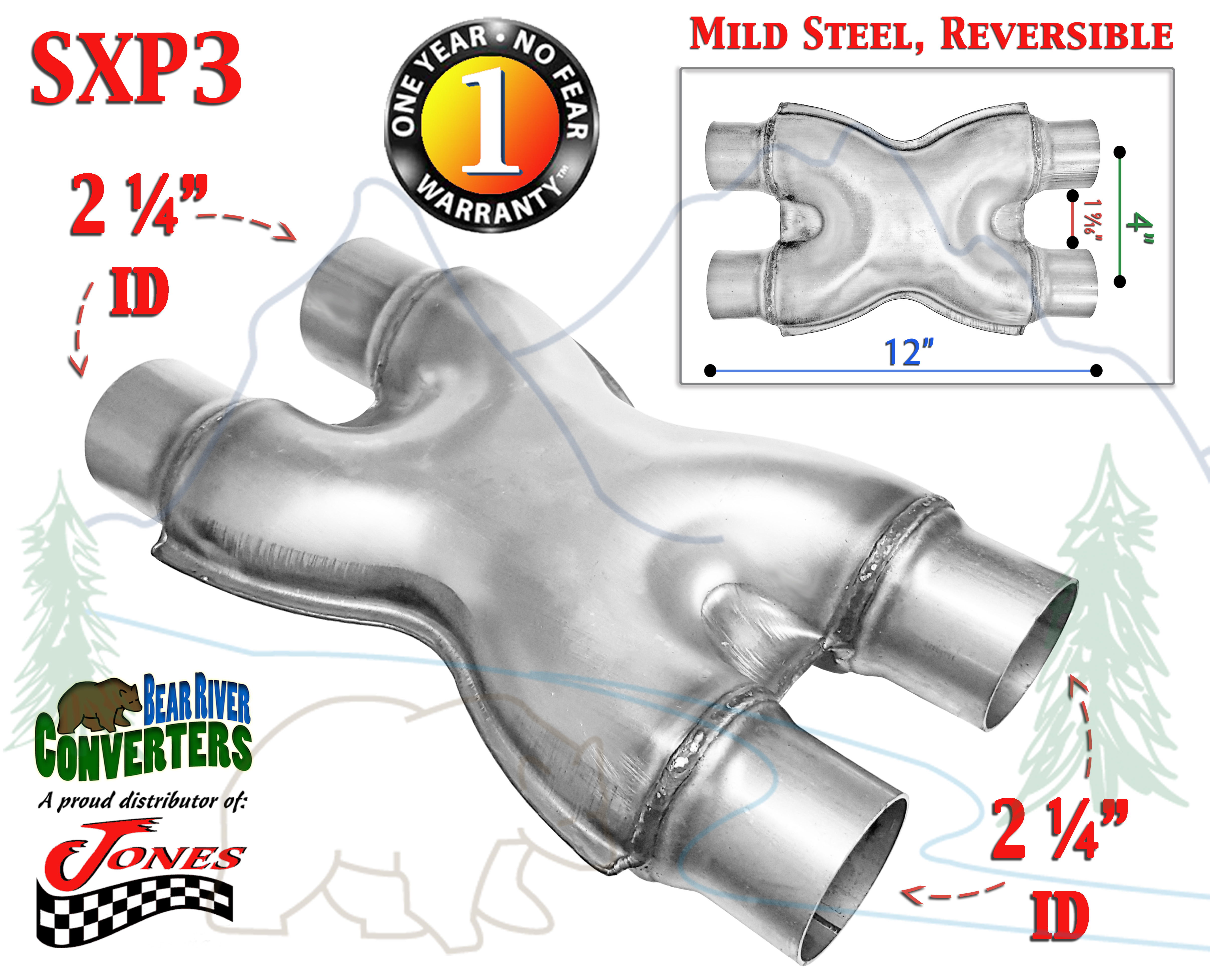 """SXP3 Mild Steel Exhaust X Pipe Adapter Connector 2 1//4"""" Dual to 2.25/"""" Dual"""