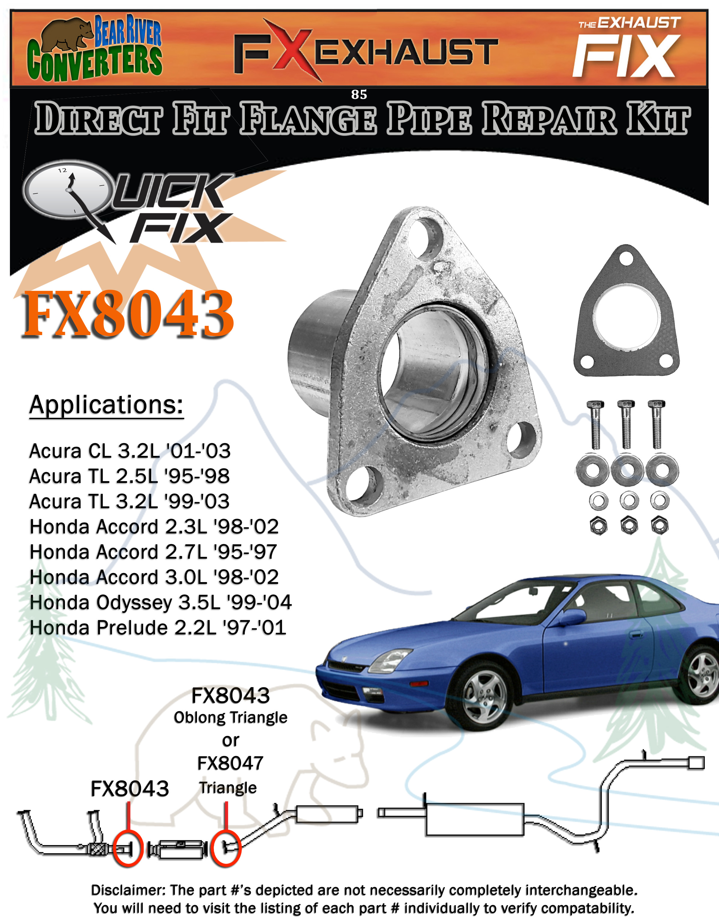fx8043 2 semi direct fit exhaust converter pipe flange repair kit w rh ebay  com 99 Acura TL Exhaust Pieces Acura TL Stock Exhaust