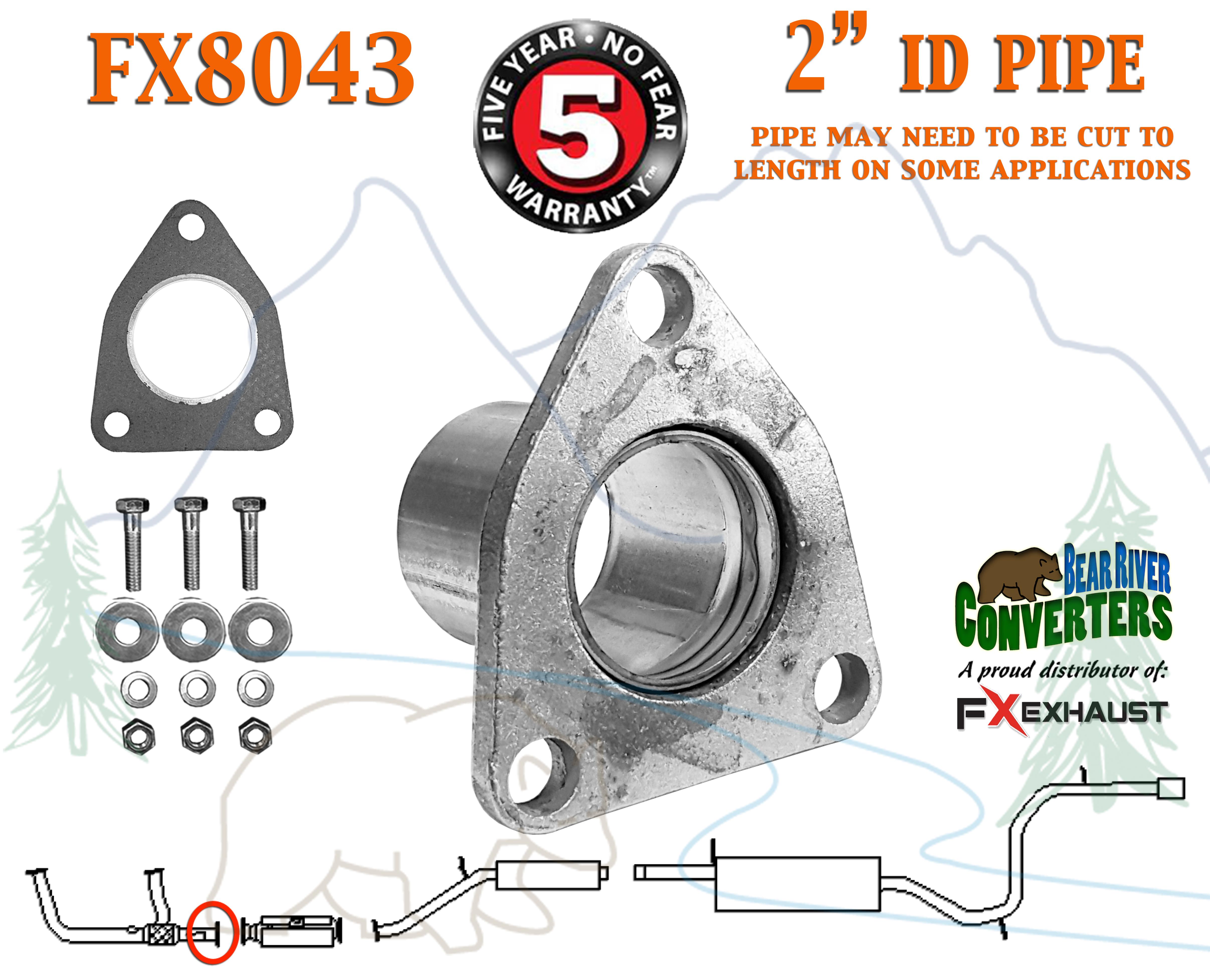 "FX8043 2"" Semi Direct Fit Exhaust Converter Pipe Flange Repair Kit w/ Gasket  & Hardware"