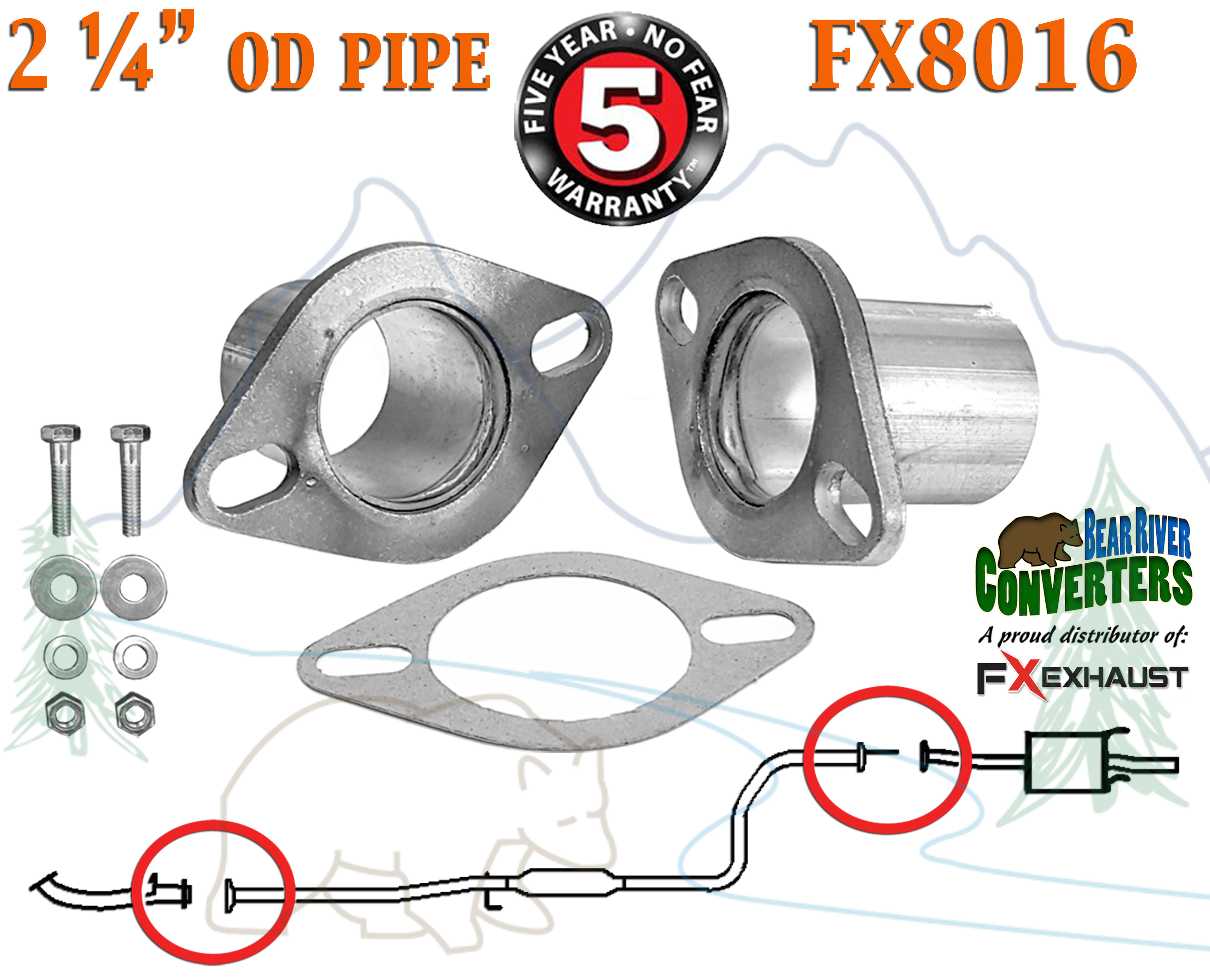"FX8016 2 1 4"" OD Universal QuickFix Exhaust Oval Flange Repair Pipe"