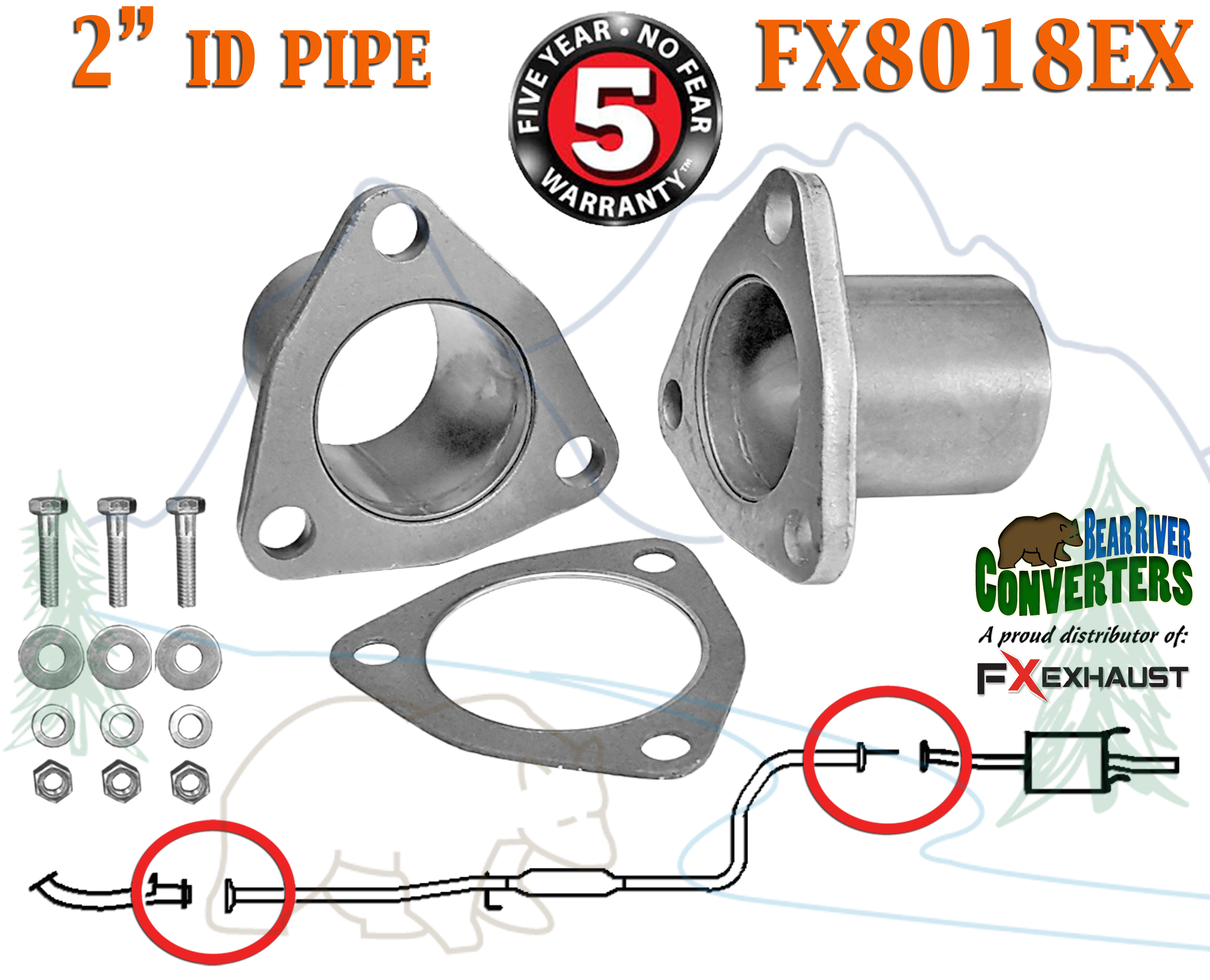 "FX8018EX 2"" ID Universal QuickFix Exhaust Triangle Flange Repair"