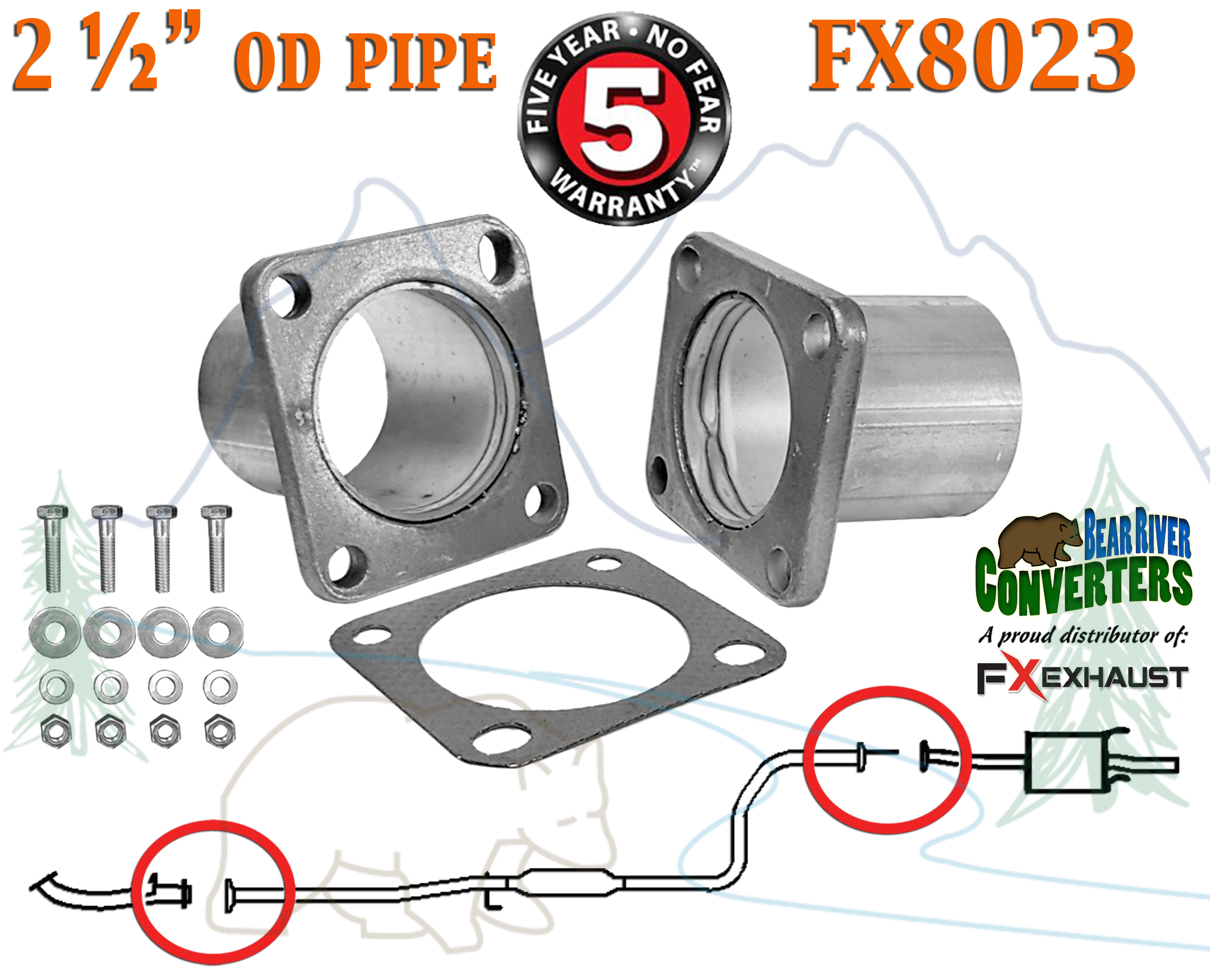 "FX8023 2 1 2"" OD Universal QuickFix Exhaust Square Flange Repair"