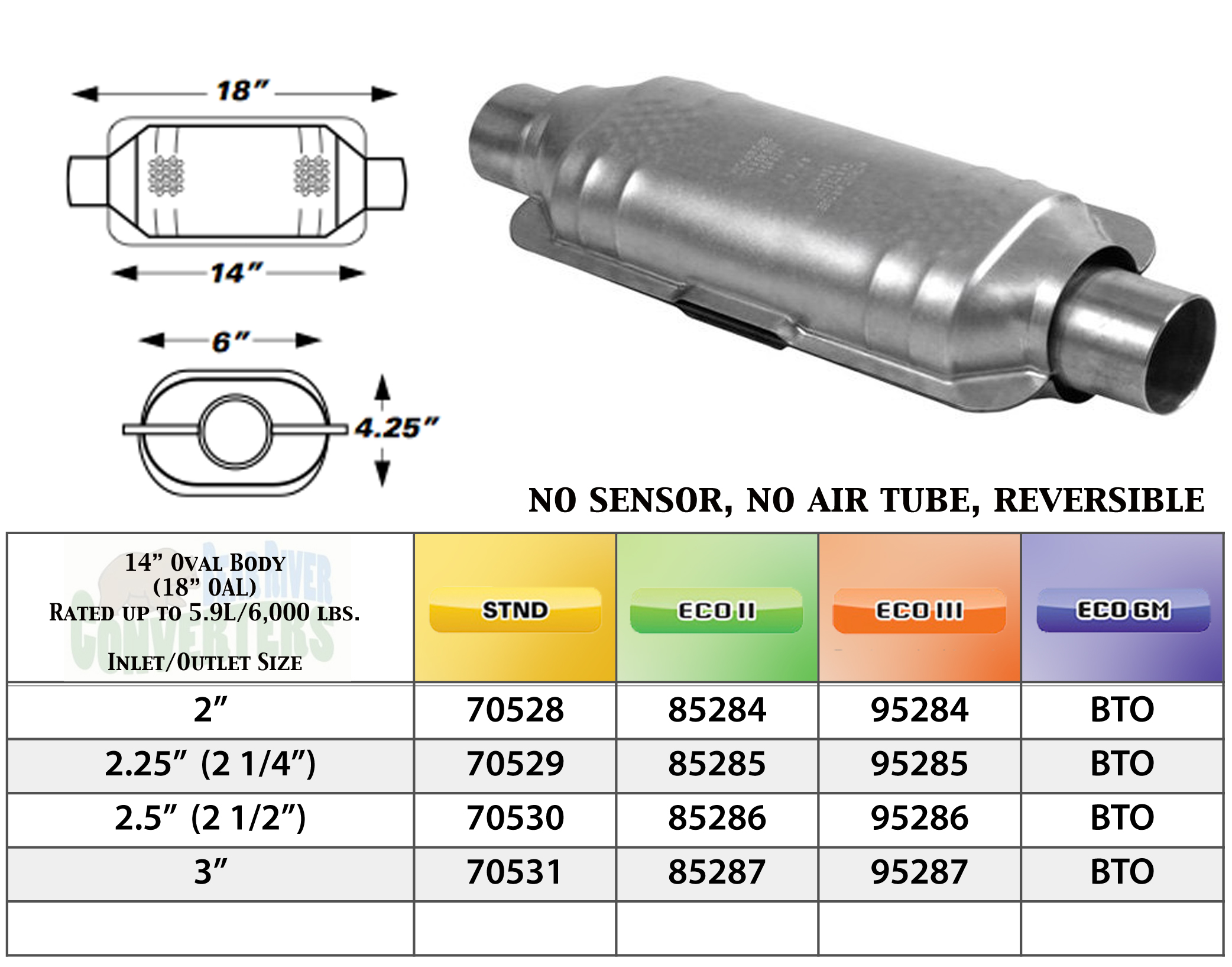 "Eastern 82256 Universal Catalytic Converter ECO II 2.5"" Pipe 6"" Bullet Body"